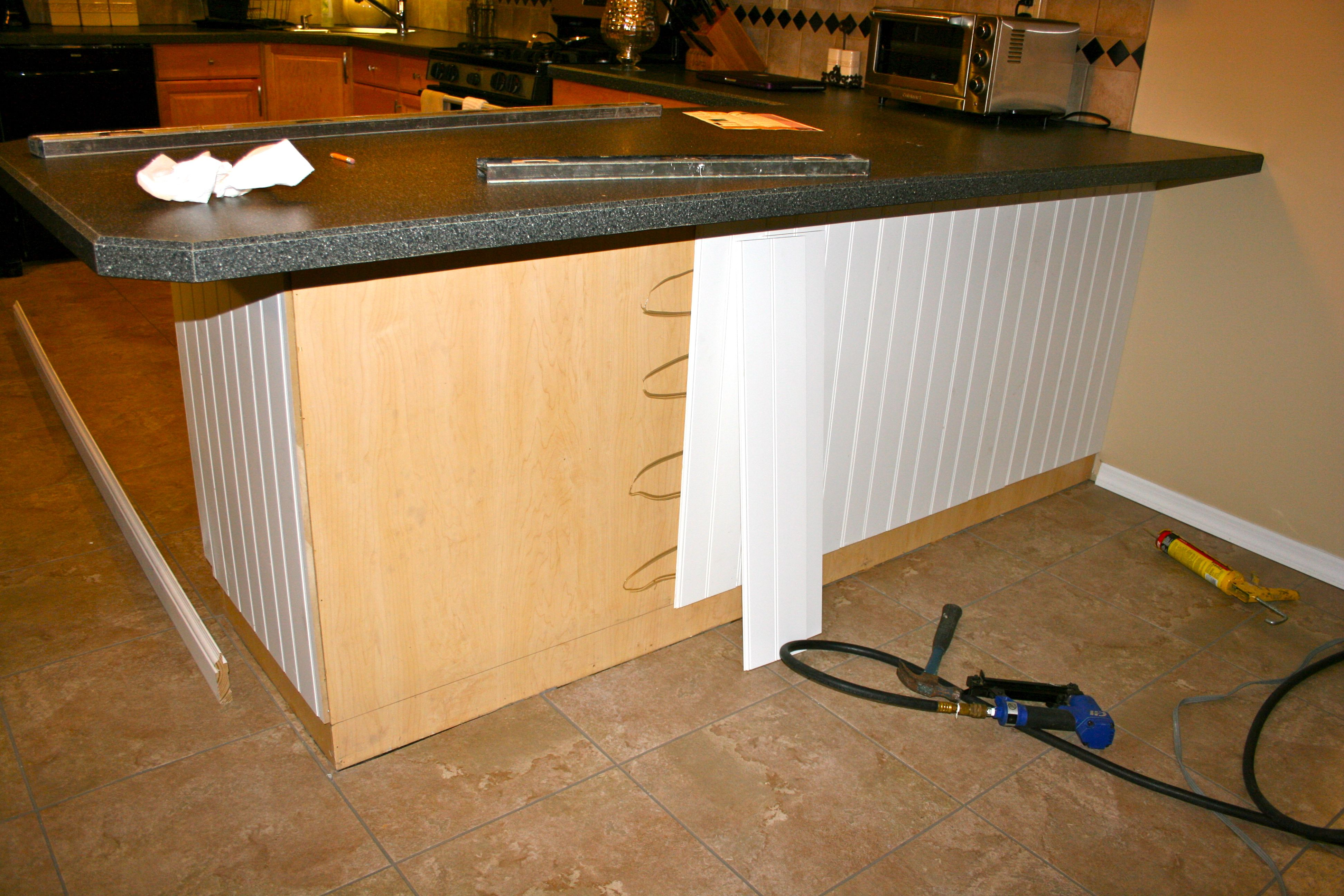 Add beadboard to peninsula kitchen cabinet enhancement for Add beadboard to kitchen cabinets