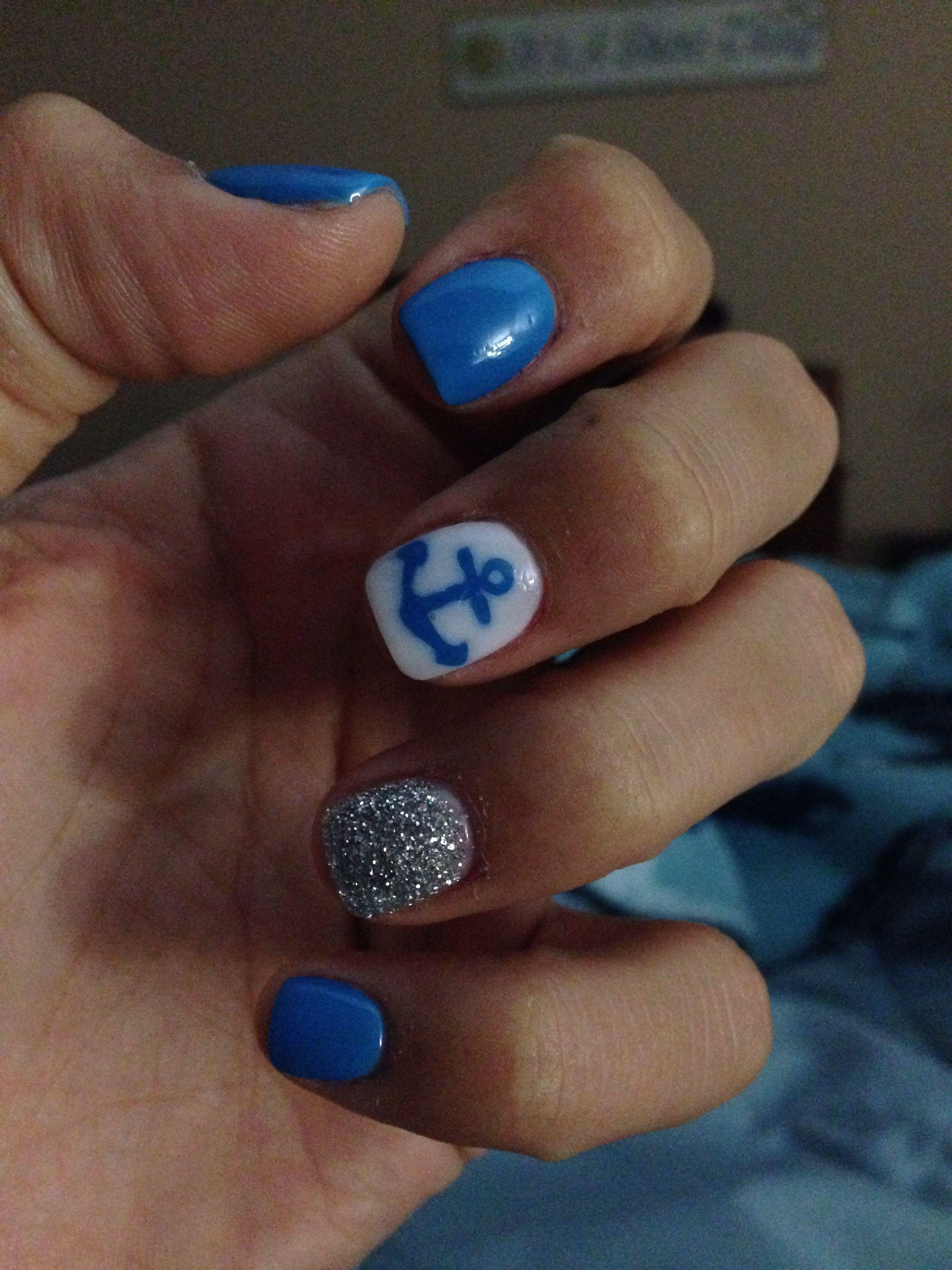 Nautical nails ; gel powder | Nails | Pinterest