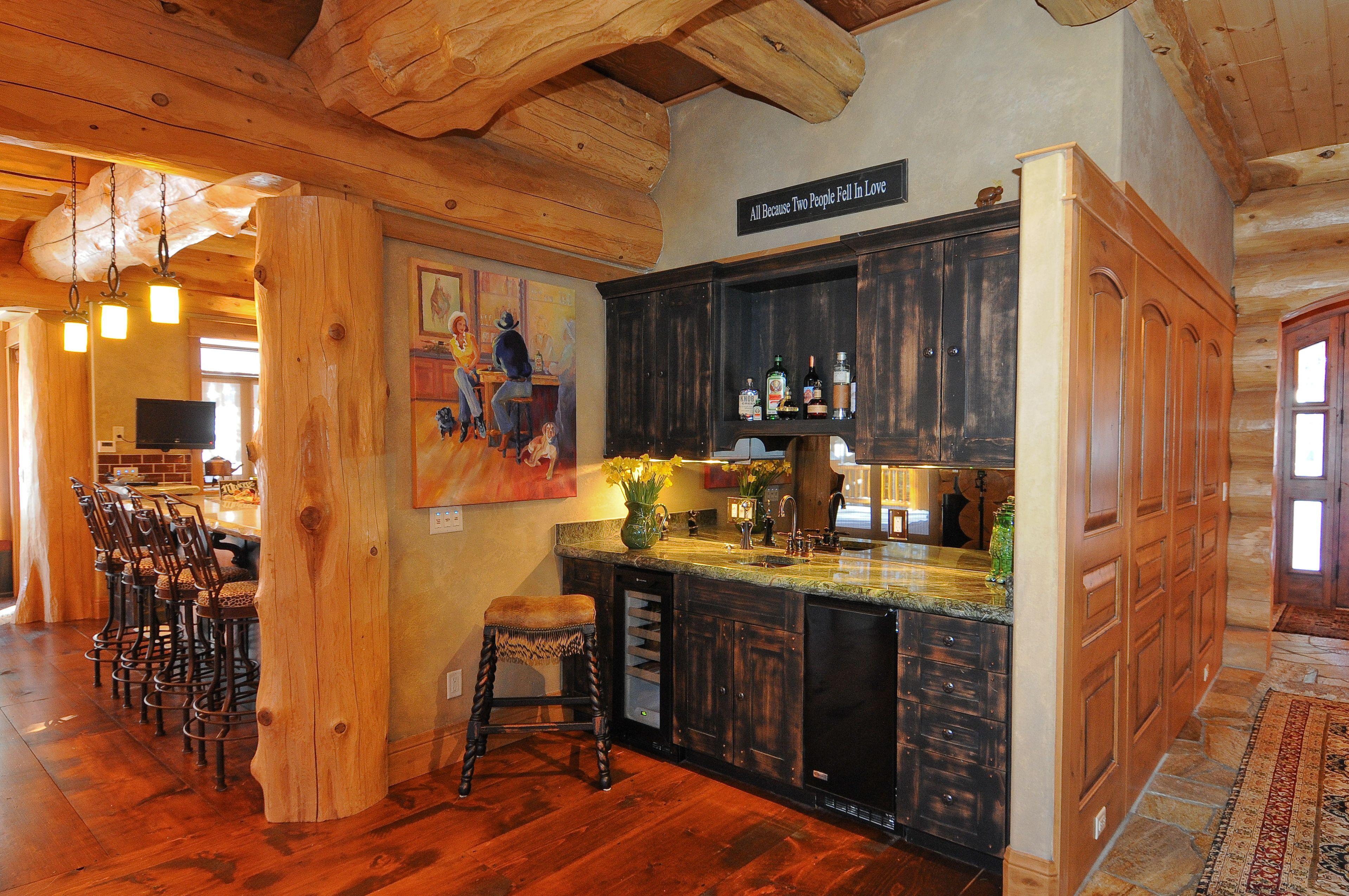 log home wet bar bars pinterest