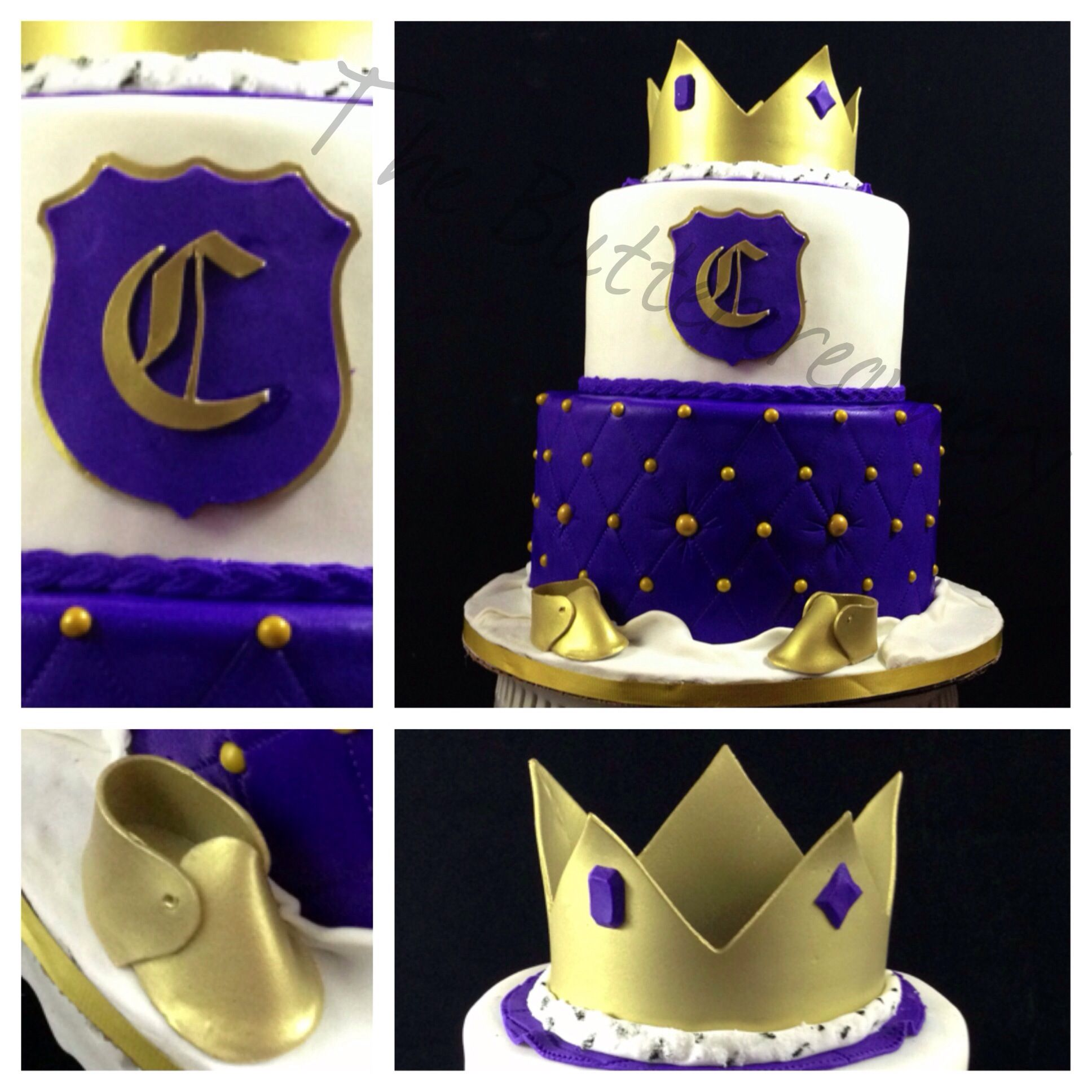 prince themed baby shower cake in royal blue and gold with crown baby