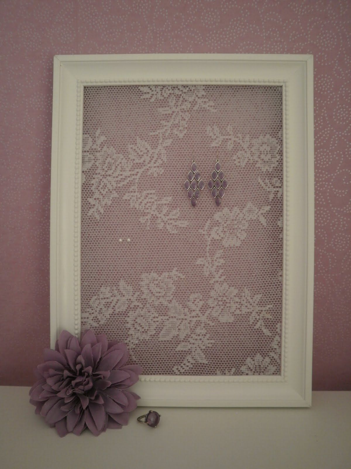DIY earring holder with lace background. | DIY & Crafts | Pinterest