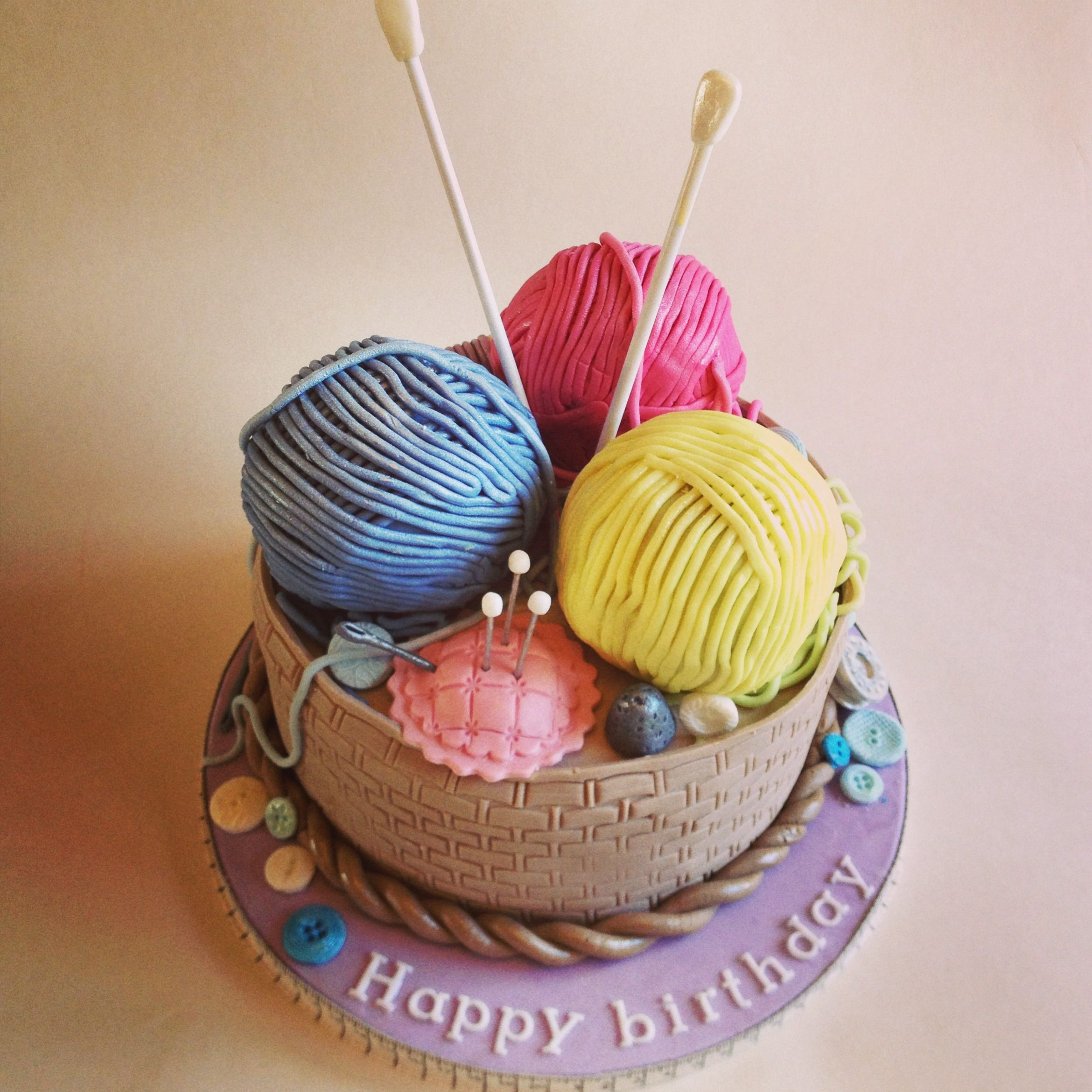 Knitting Happy Birthday Meme : Knitting basket cake cakes pinterest