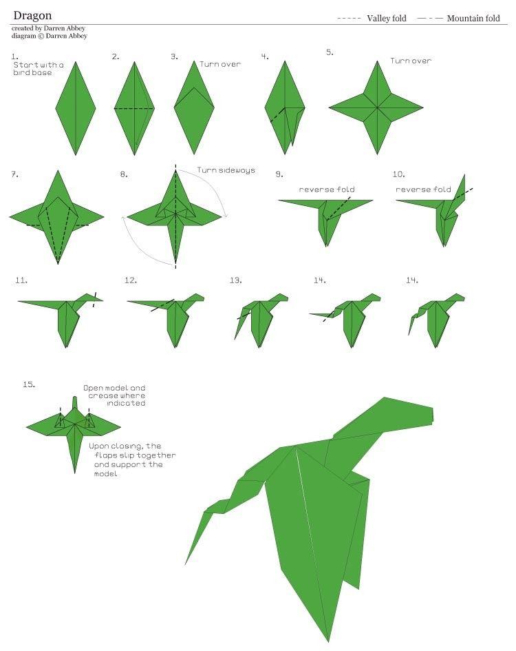 Как сделать оригами поэтапно дракона