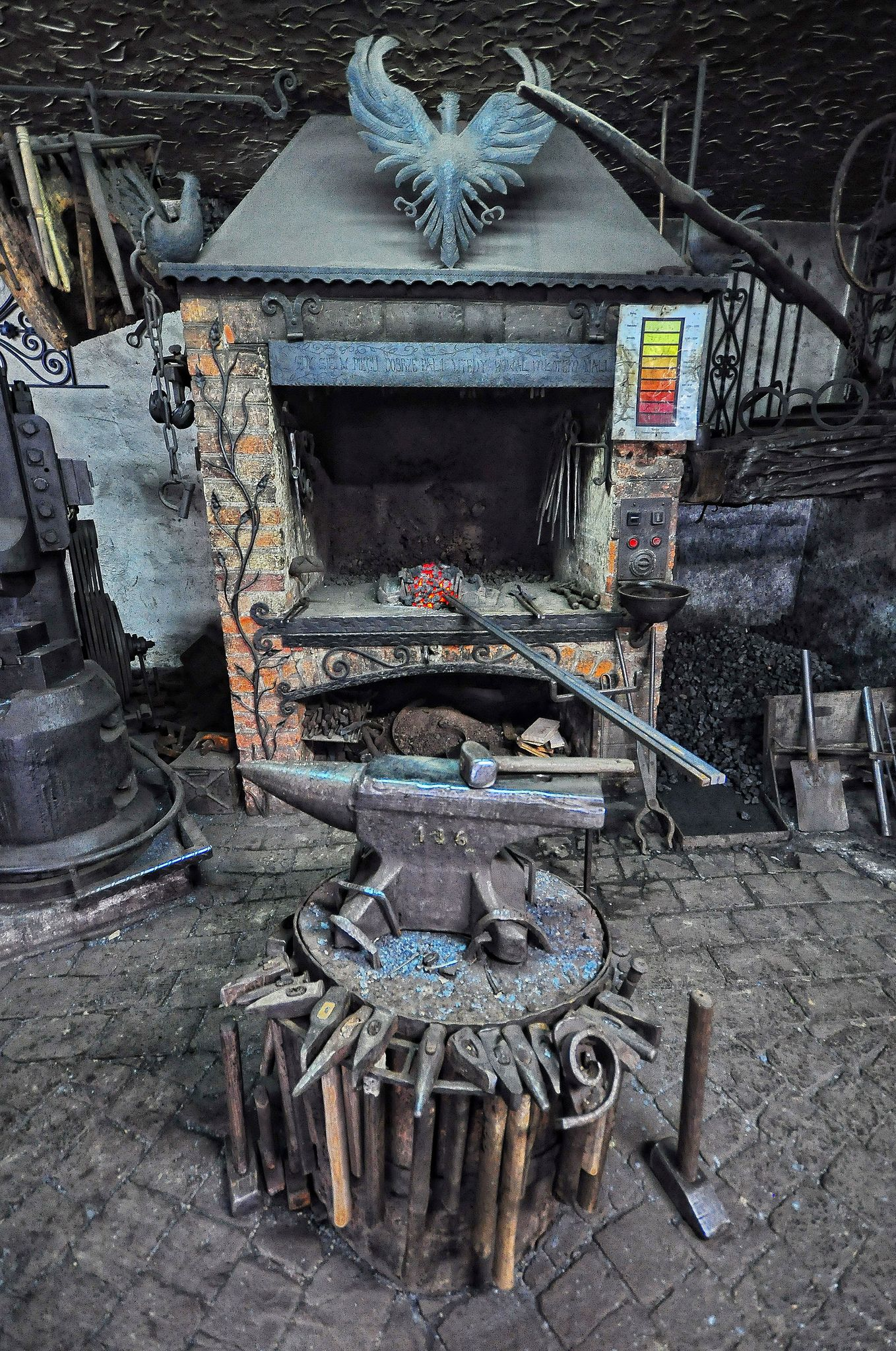 Old fashioned blacksmith forge 16