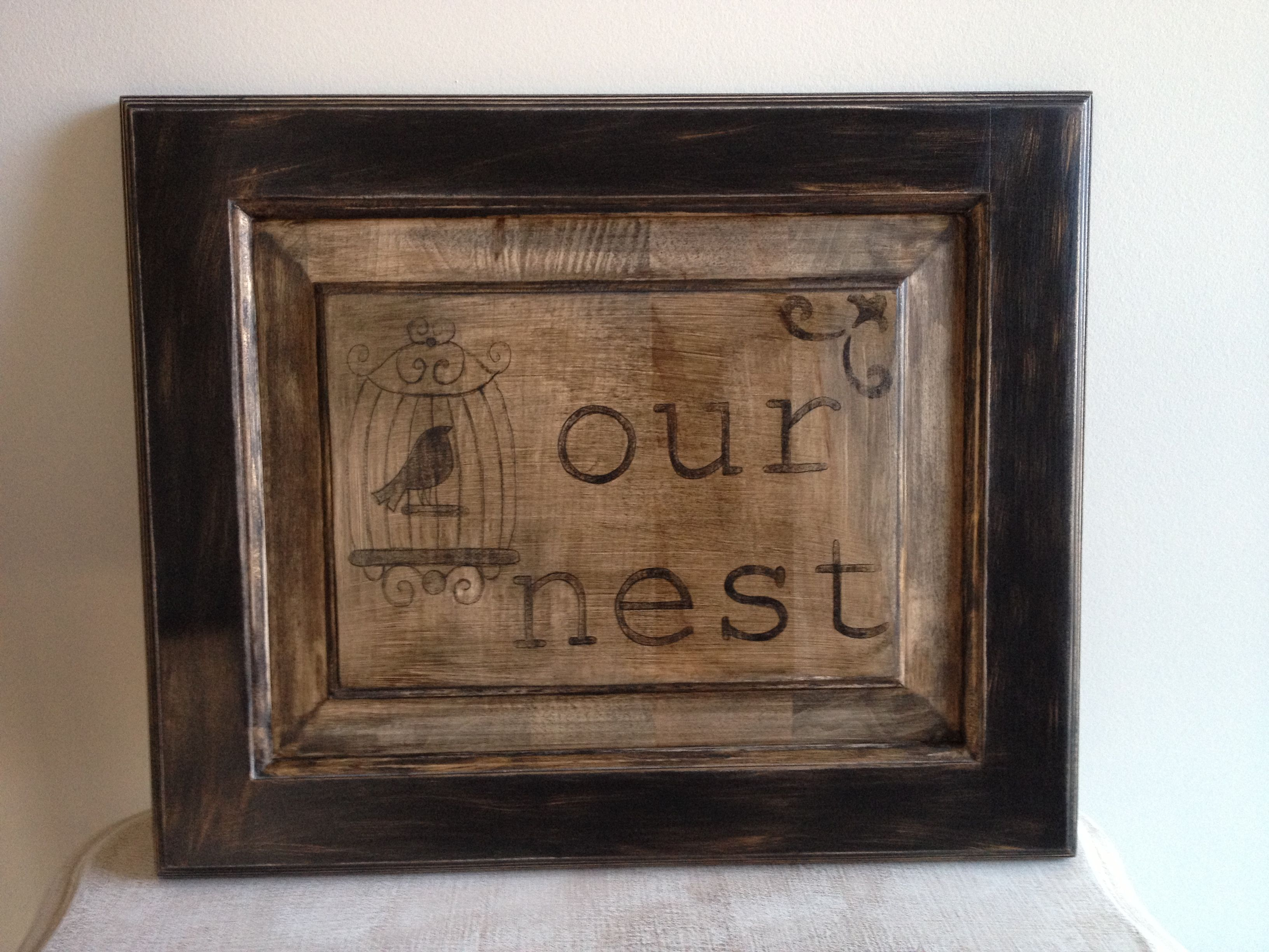 Our Nest On Upcycled Cabinet Door Upcycle Please Pinterest