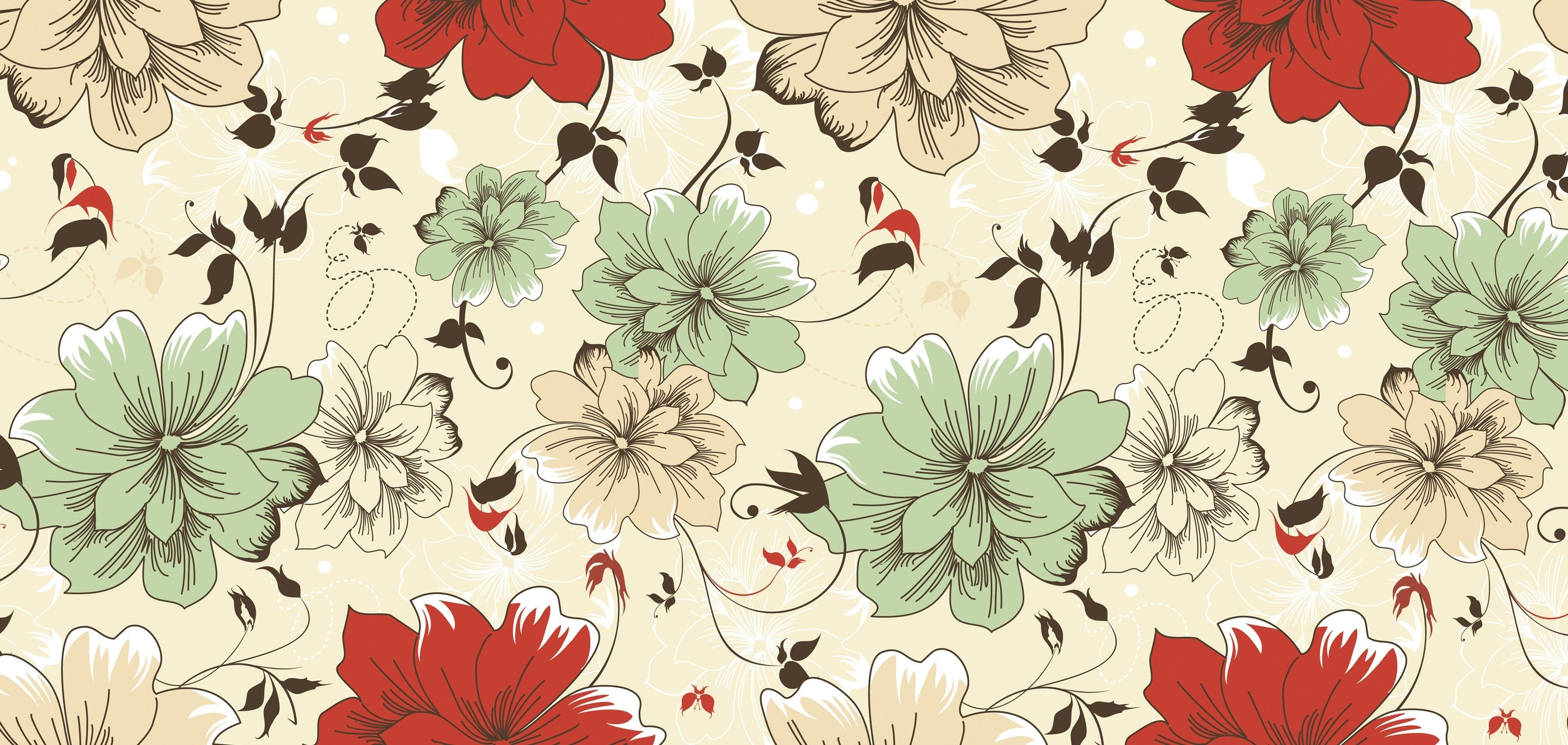 Vintage floral pattern desktop wallpaper