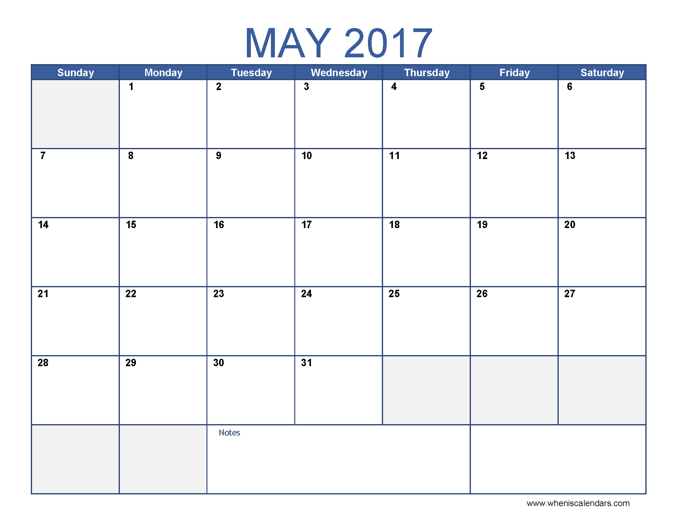 Blank Calendar Month Of May 2017 – Printable Editable Blank