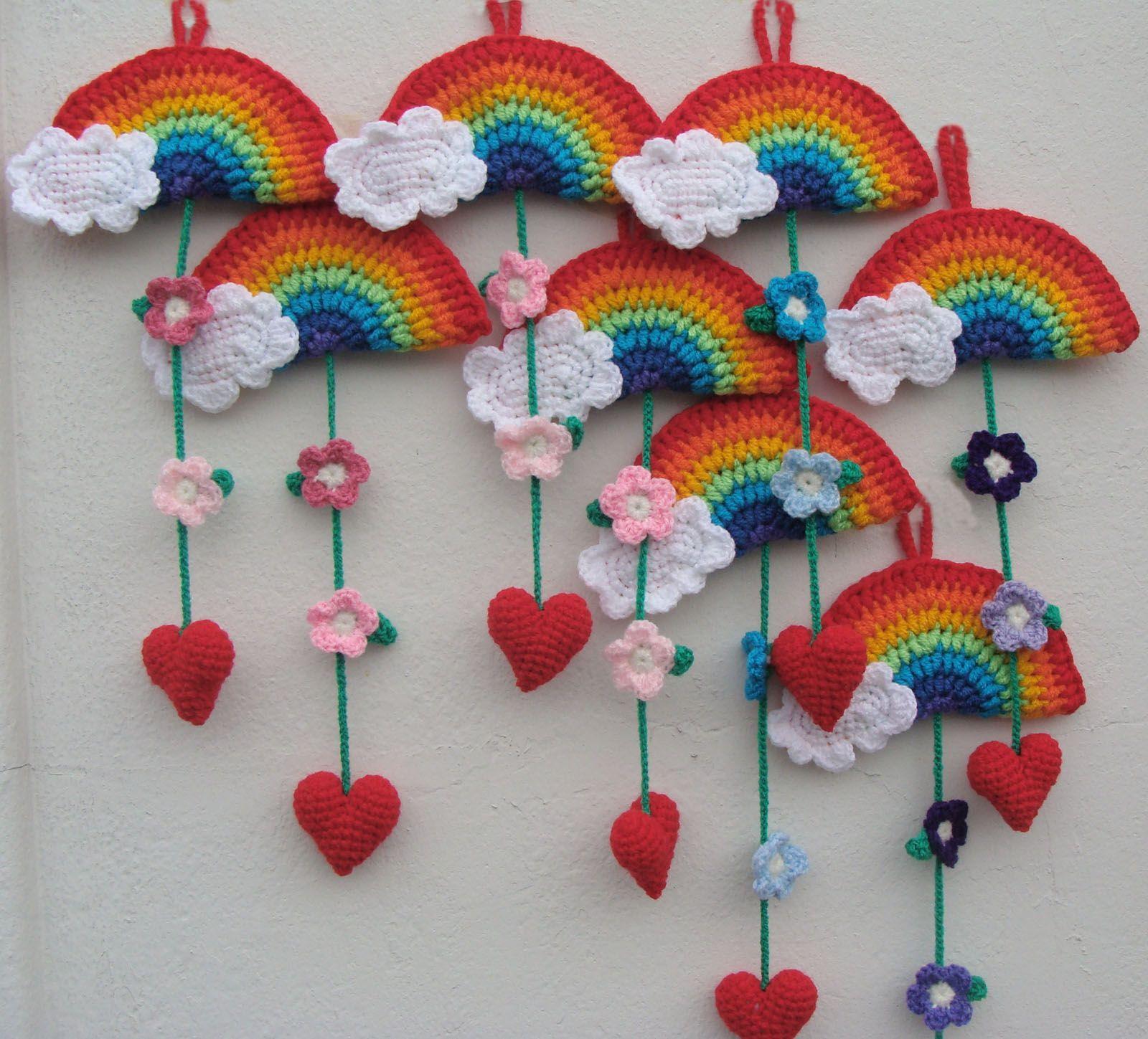 Colgantes Arco Iris Cosas Al Crochet Pinterest