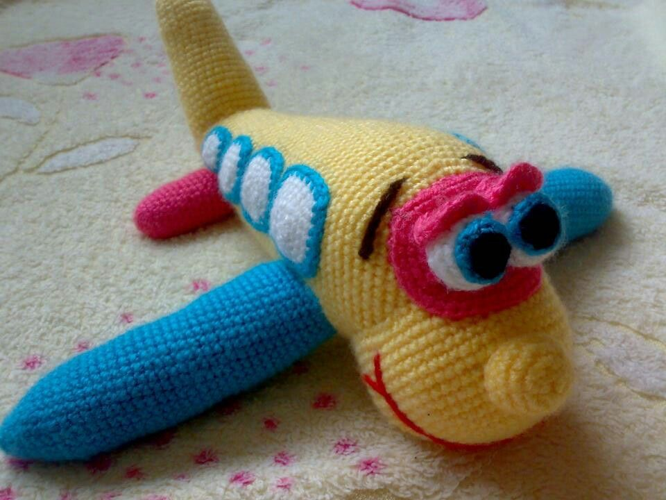 Crocheted airplane Crocheting Pinterest