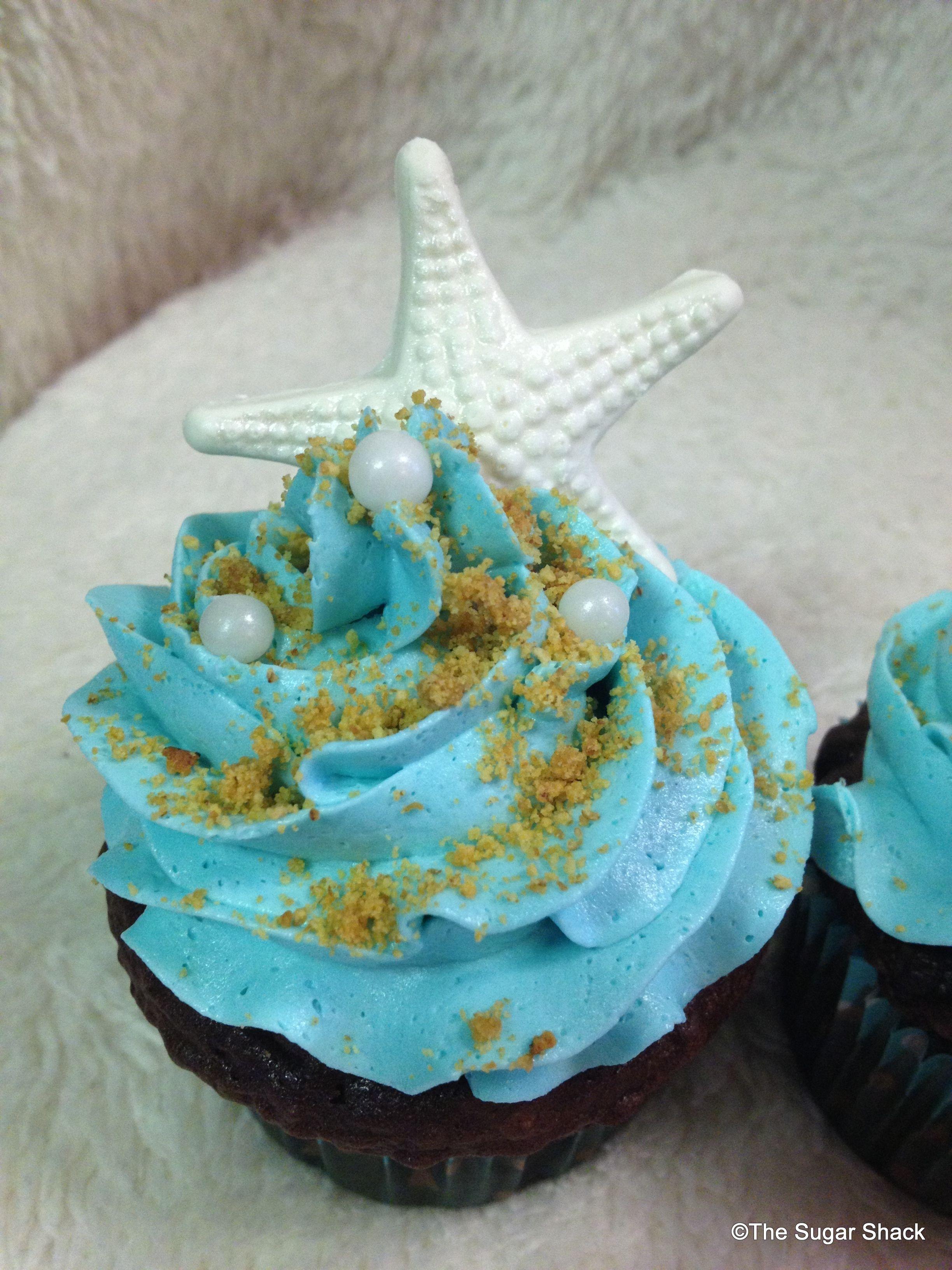Beach Bridal shower cupcakes