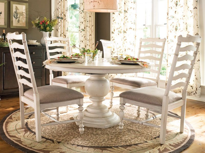 Willow Rectangular Dining Room Set W Upholstered Chairs Distressed ...