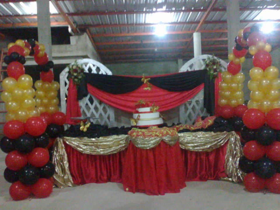 Red Gold Party Decorations Ideas Pinterest