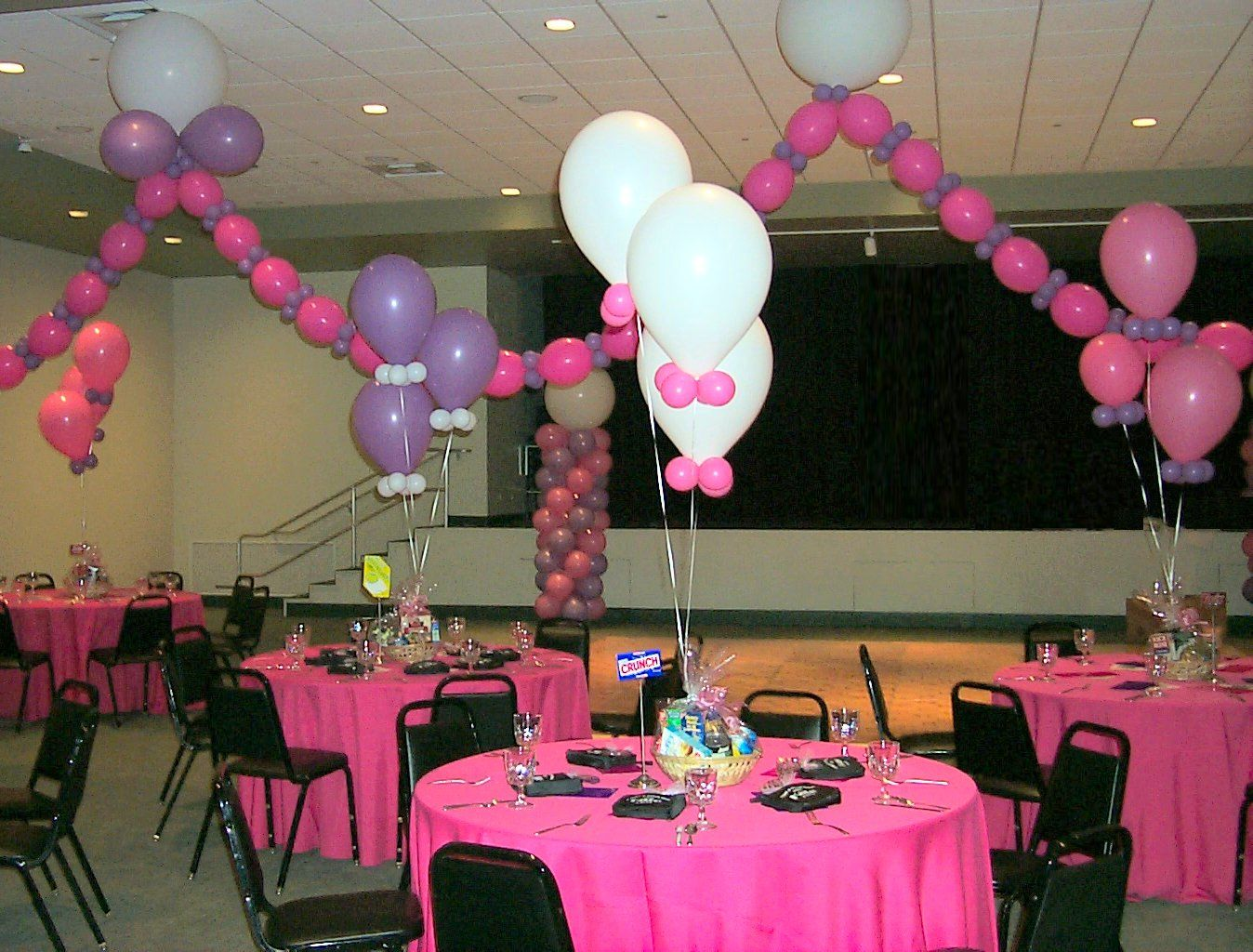 Banquet hall pink decoration set up holidays to remember for Party hall decoration ideas