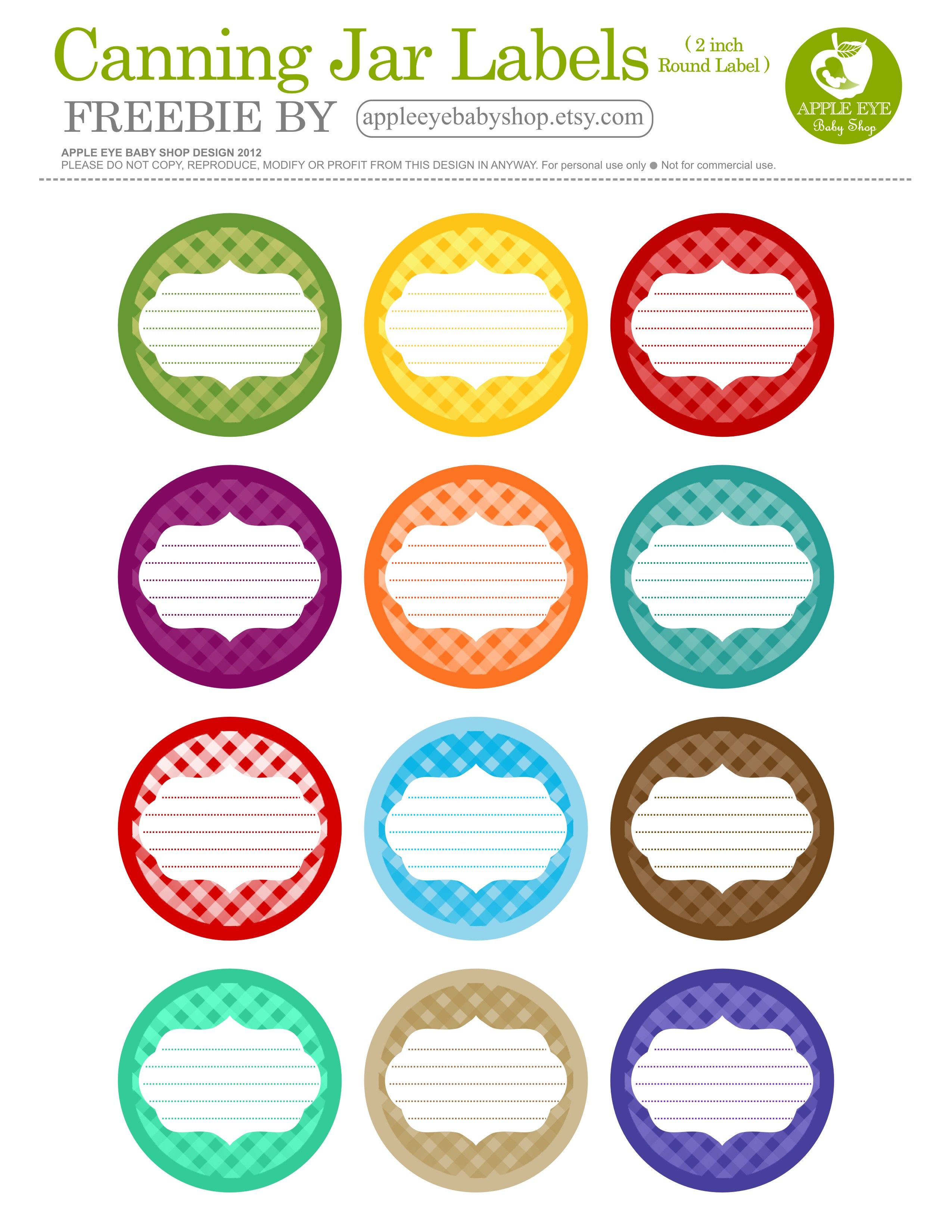 Free Printable  12 CANNING JAR LABELS} Freebie by http://www.etsy.com ...