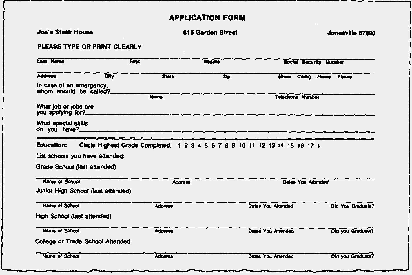 resume for job form