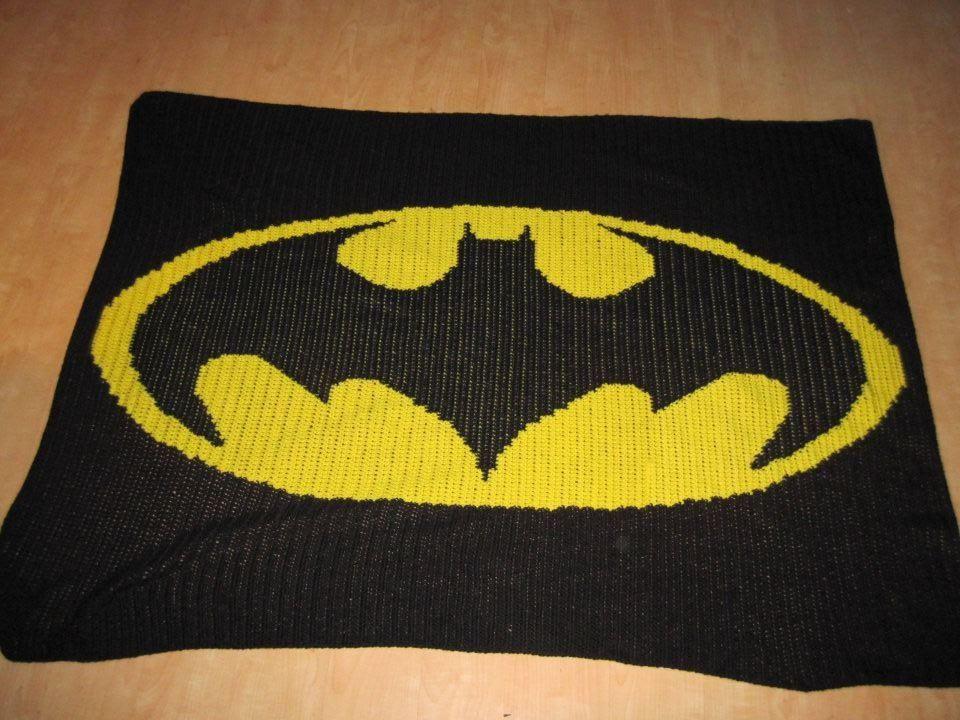 Knitting Pattern For Batman Blanket : Batman logo blanket Crocheting madness! :D Pinterest