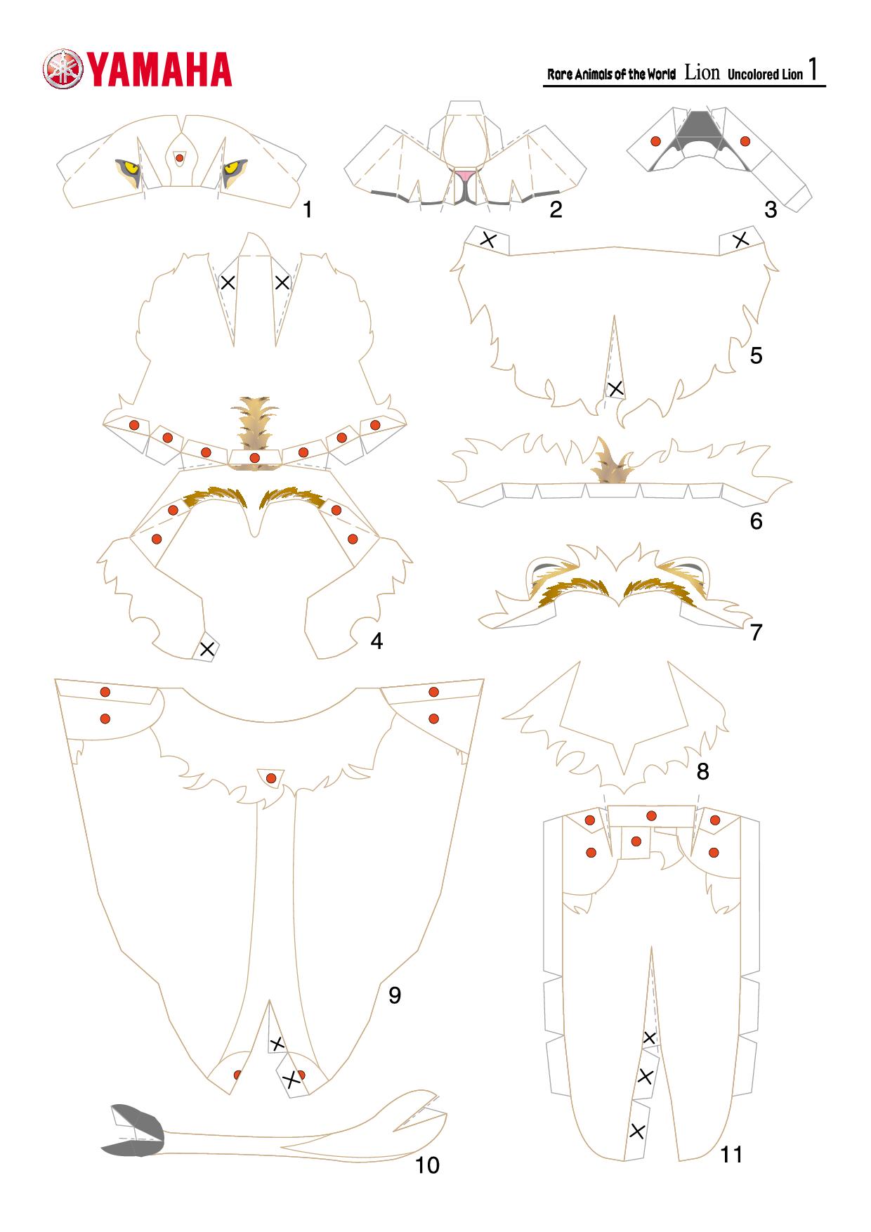 Паперкрафт схемы маска лисы 3