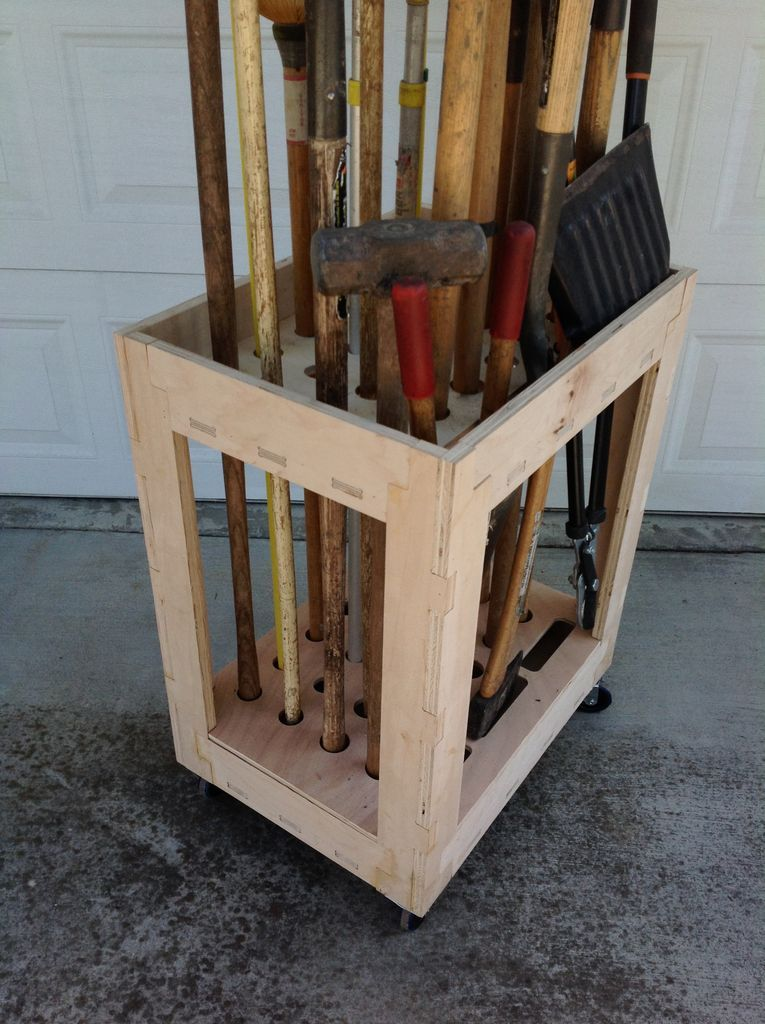 Long tool organizer cart made with cnc plywood brooms rakes shovels the doors storage