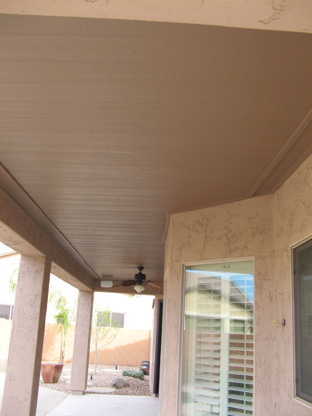 Patio ceiling tongue groove painted favorite places for Tongue and groove roof