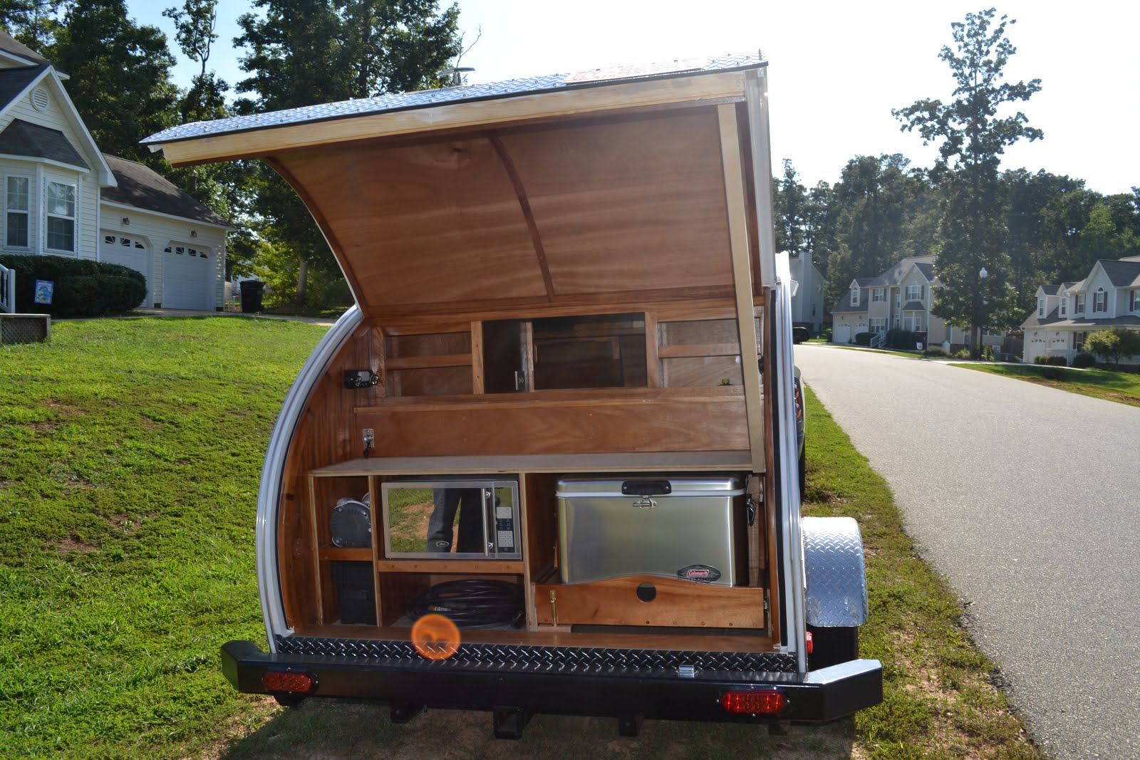 More kitchen ideas teardrop trailers and more one day for Teardrop camper kitchen ideas