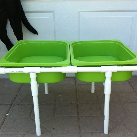 Water and sand play tables for little monsters on for Diy sand and water table pvc