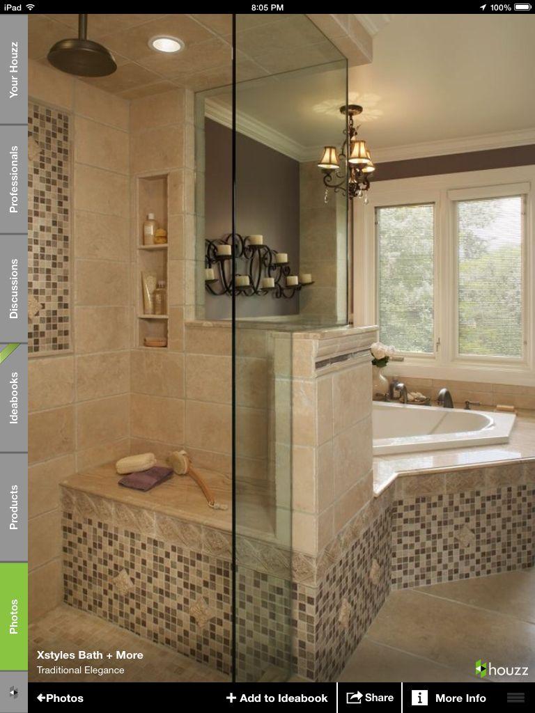Corner bathtub w shower combination bathroom remodel pinterest - Bathroom remodel corner shower ...