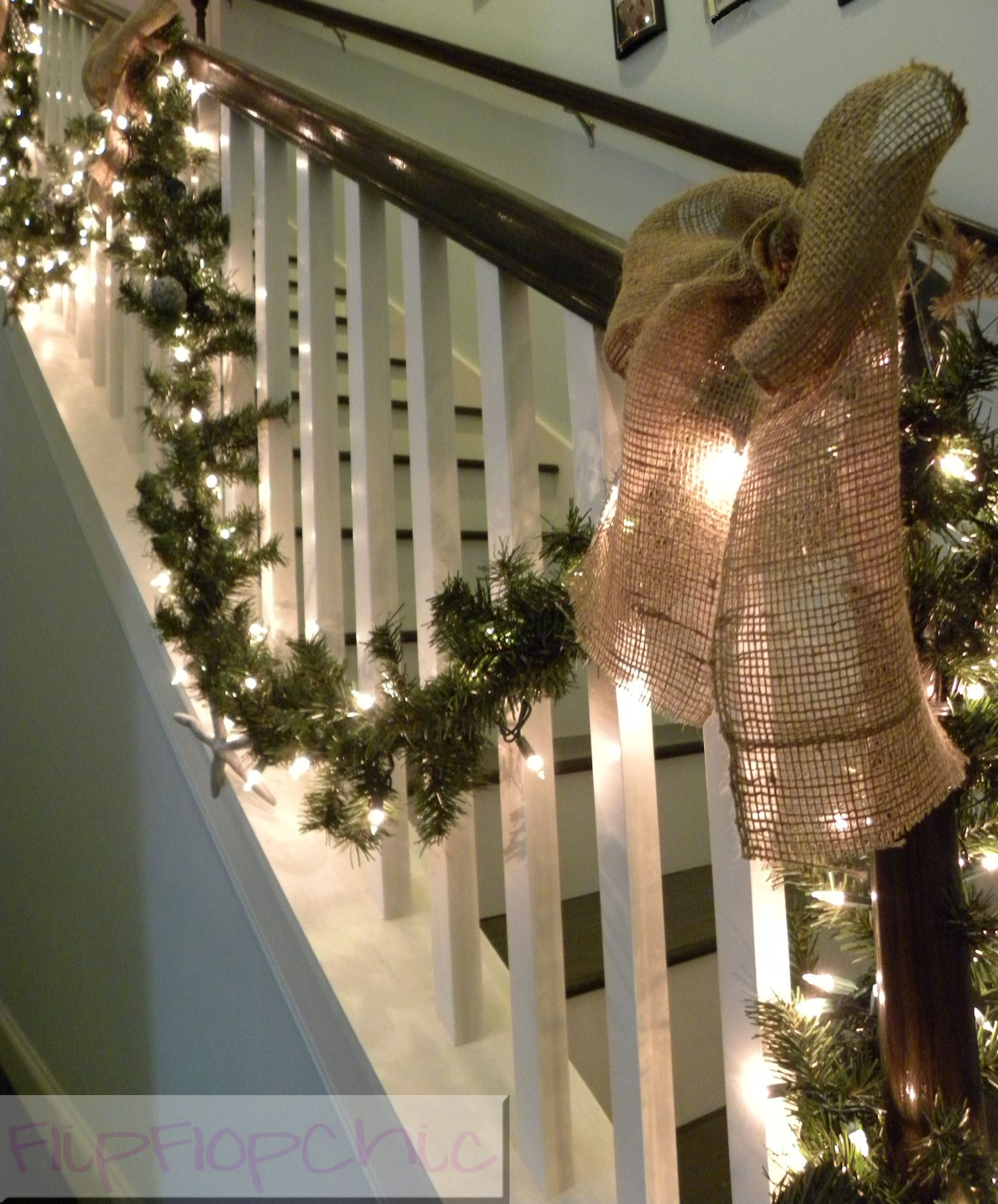 Burlap bow banister christmas decor holiday board for Decorating with burlap ribbon for christmas