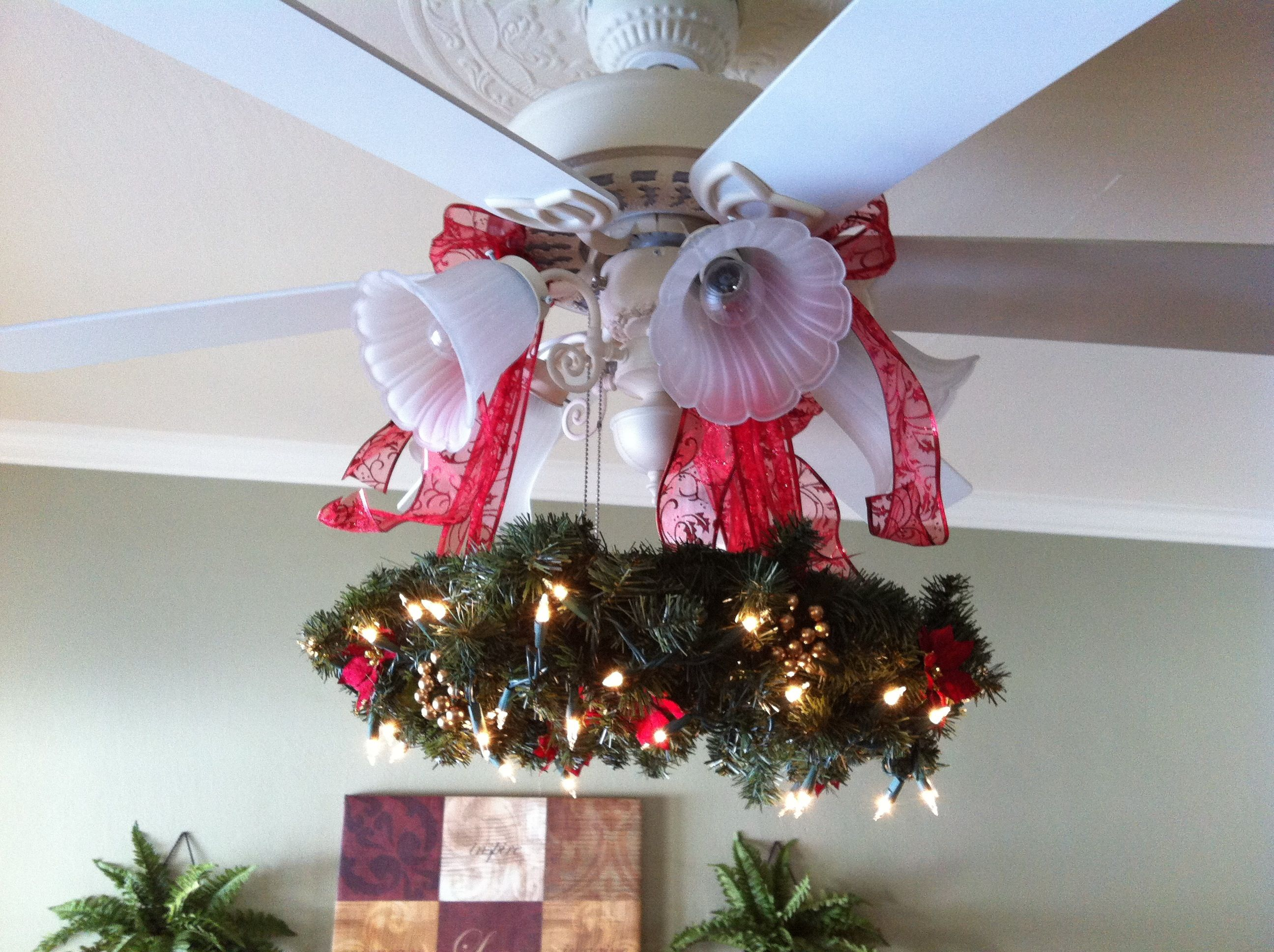 Christmas wreath for ceiling fan christmas decor for How to make ceiling decorations