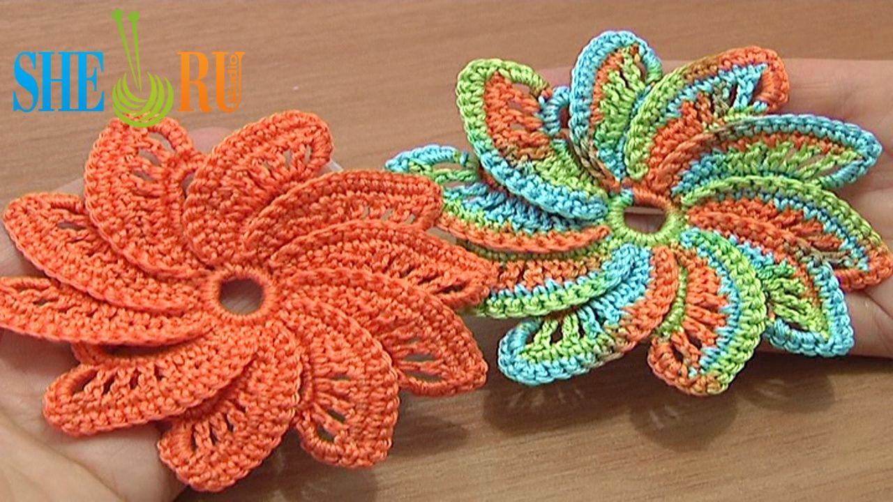 Crocheting Video Instructions : Pin by SHERU Knitting on Crochet Flower Tutorials Pinterest
