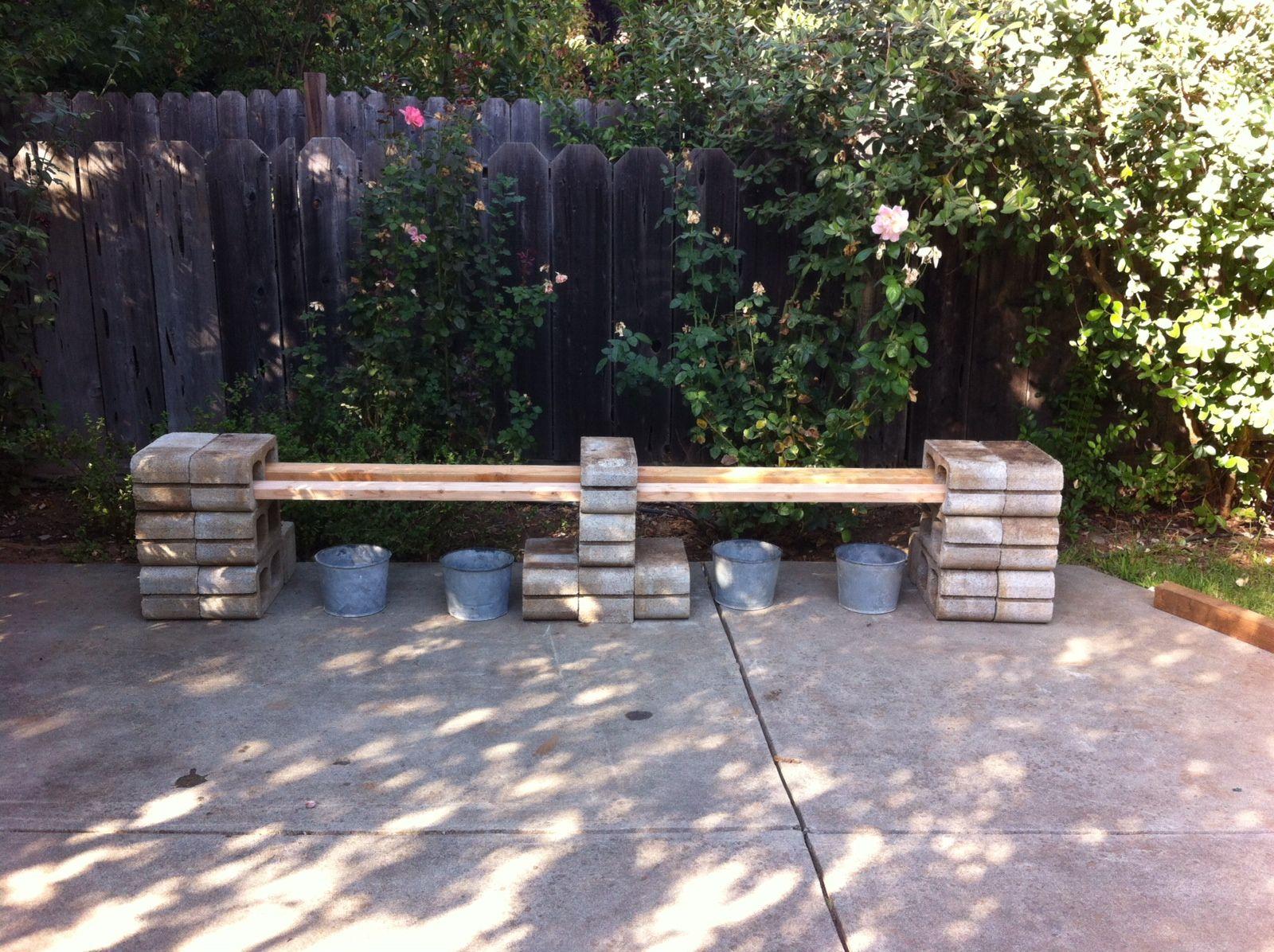 great bench idea using cinder blocks outside pinterest