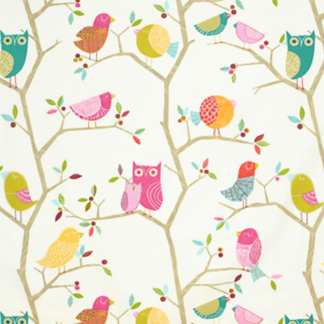 Harlequin owl fabric cute fabric pinterest for Cute childrens fabric