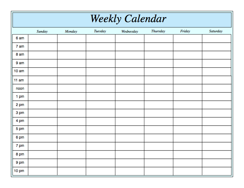 Blank Weekly Calendar With Hours – Printable Editable Blank