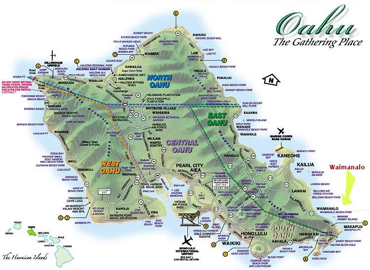 Map of Oahu Hawaii Hawaii Pinterest