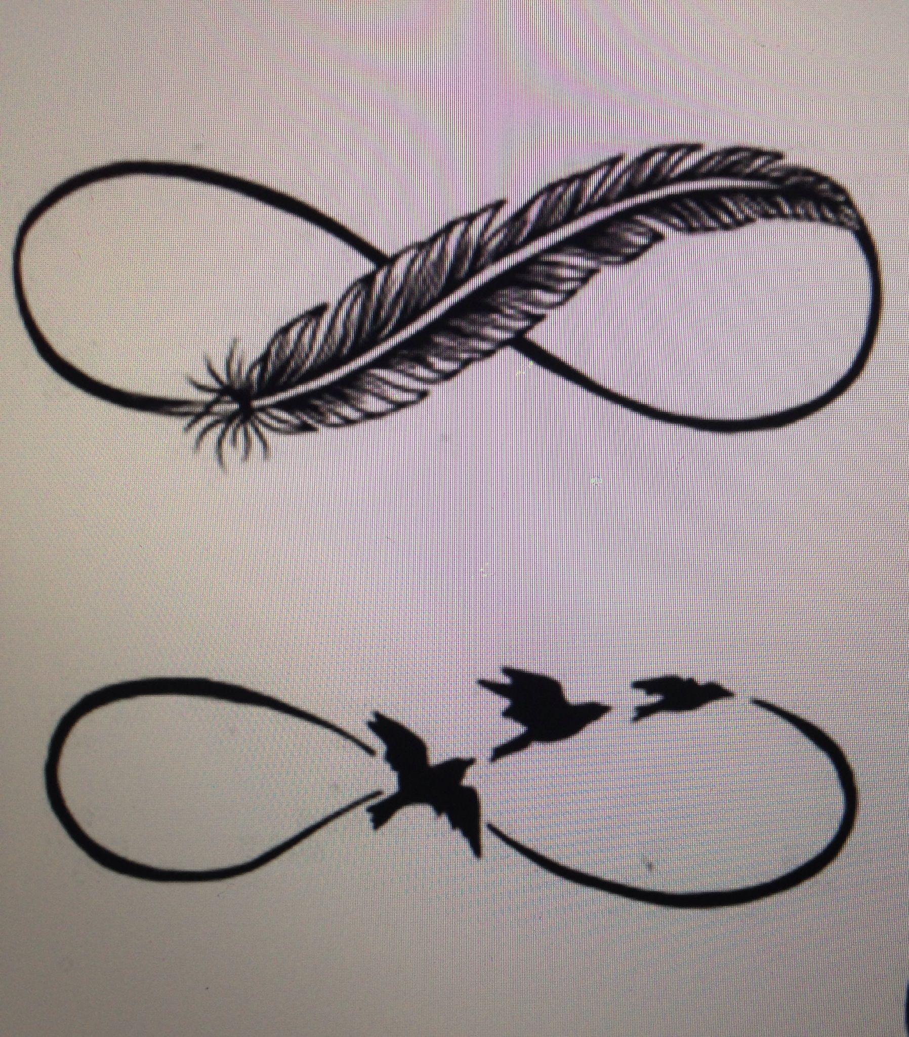Татуировка бесконечность и перо фото