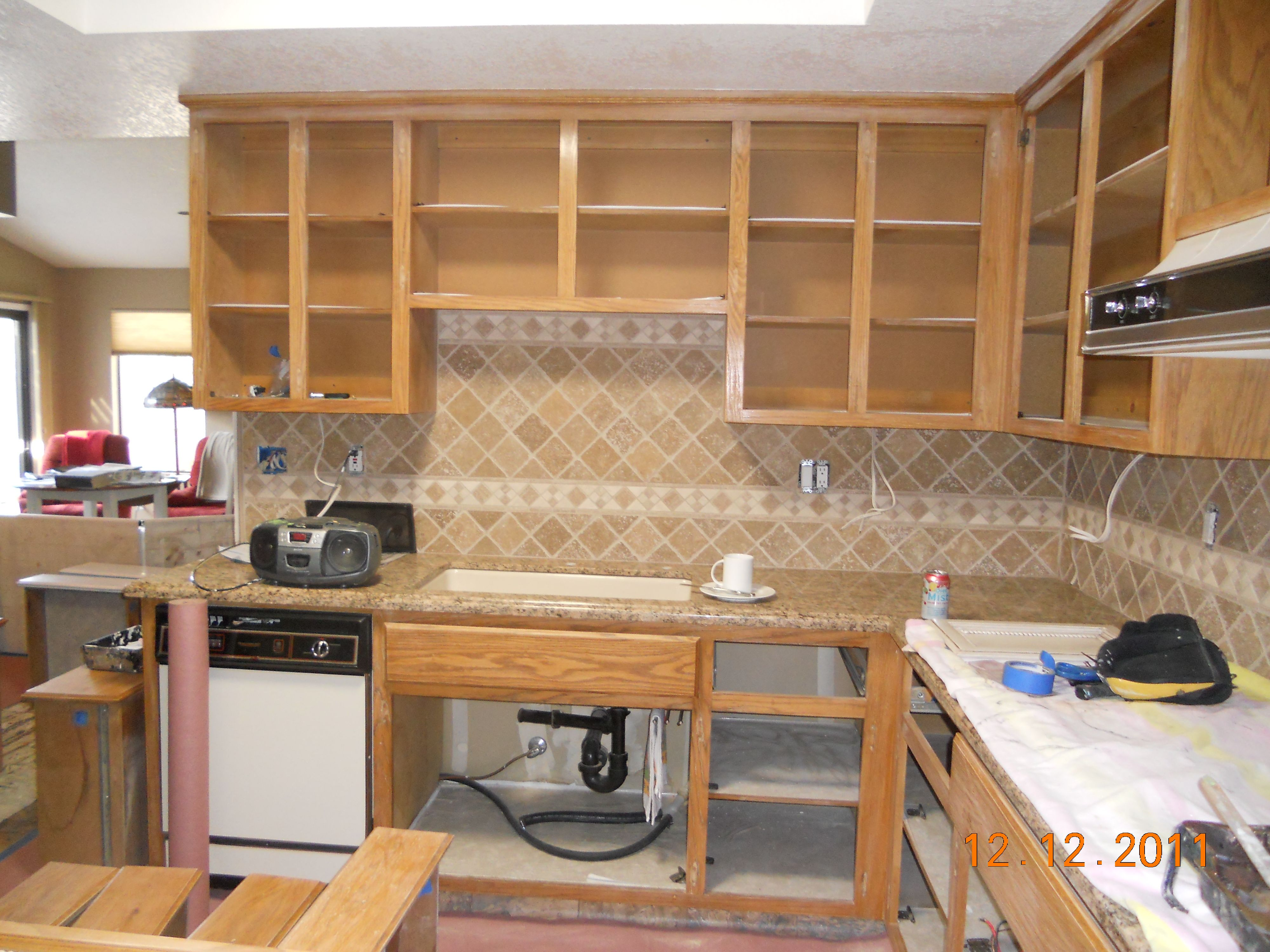 golden Oak kitchen before  Painted furniture and kitchen cabinets