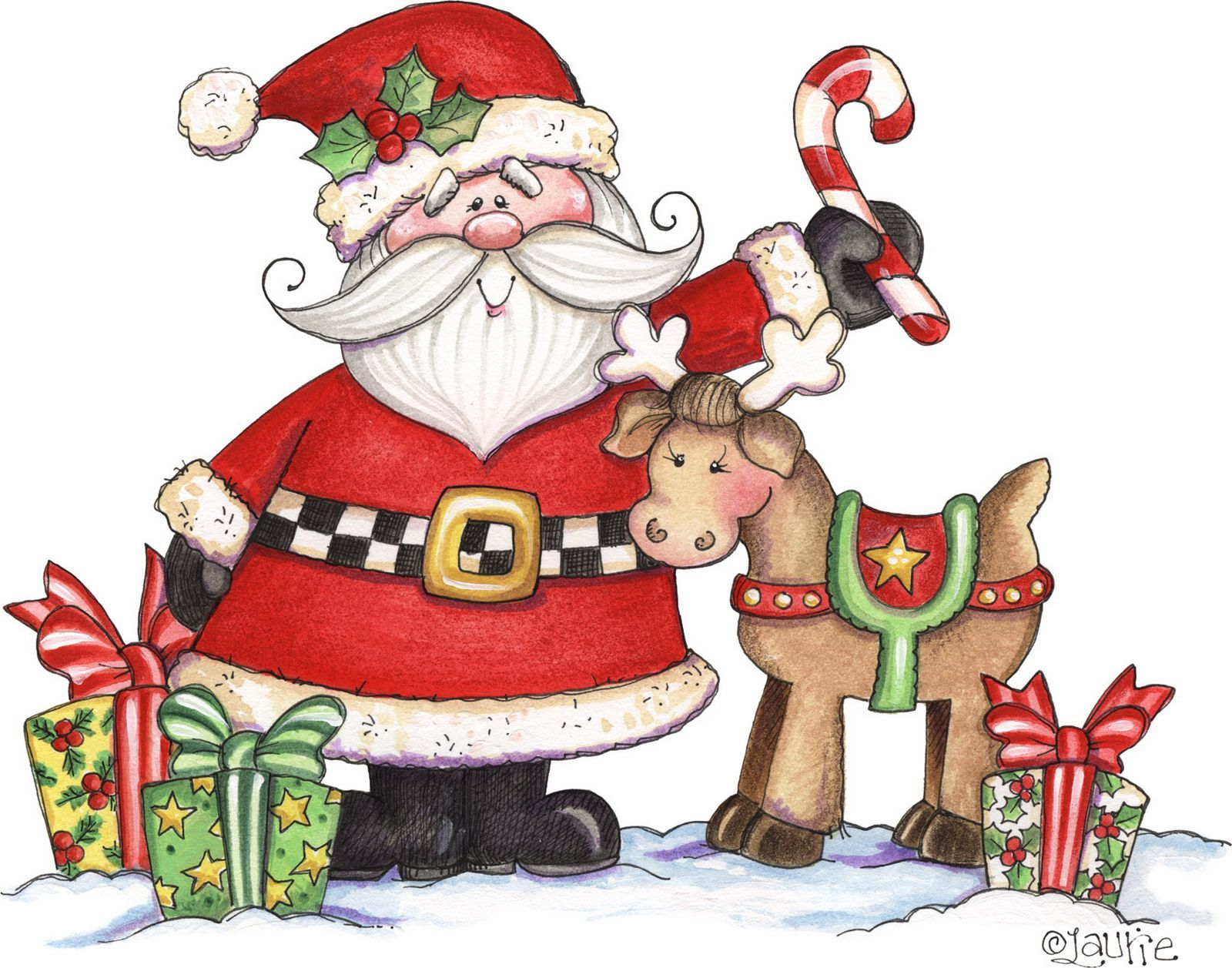 Santa and his reindeer christmas graphics pinterest for Dibujos christmas navidad