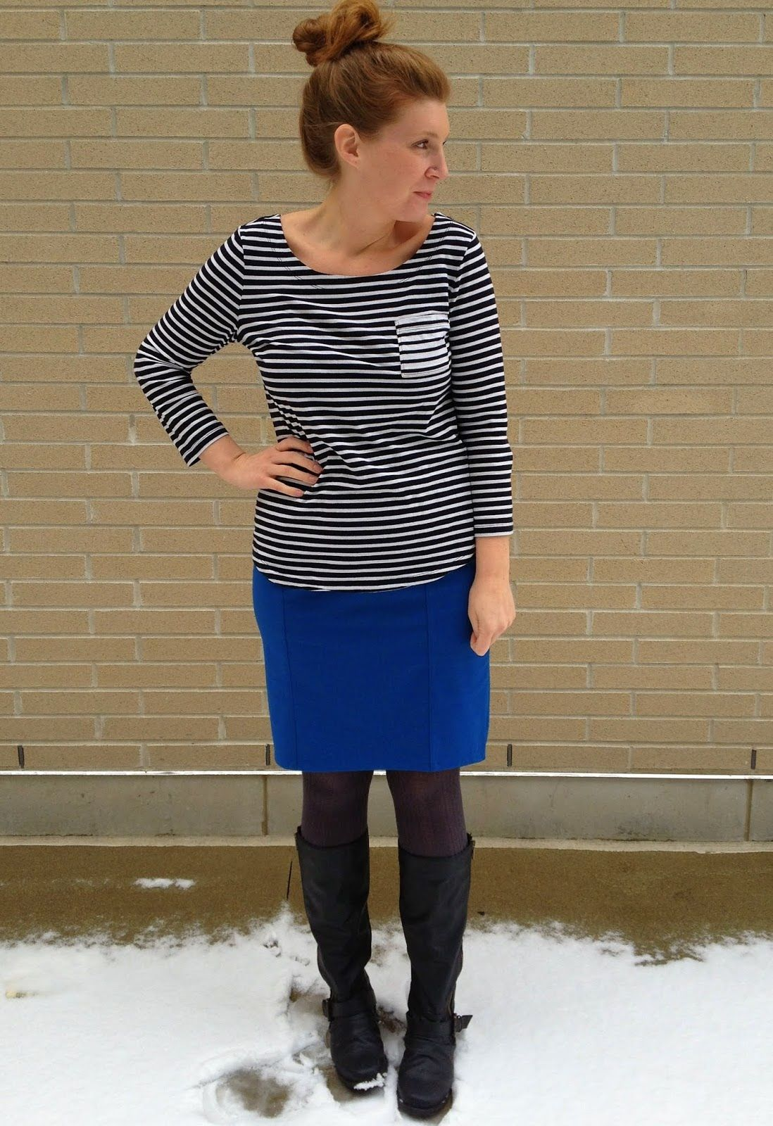 pencil skirt and boots work ideas