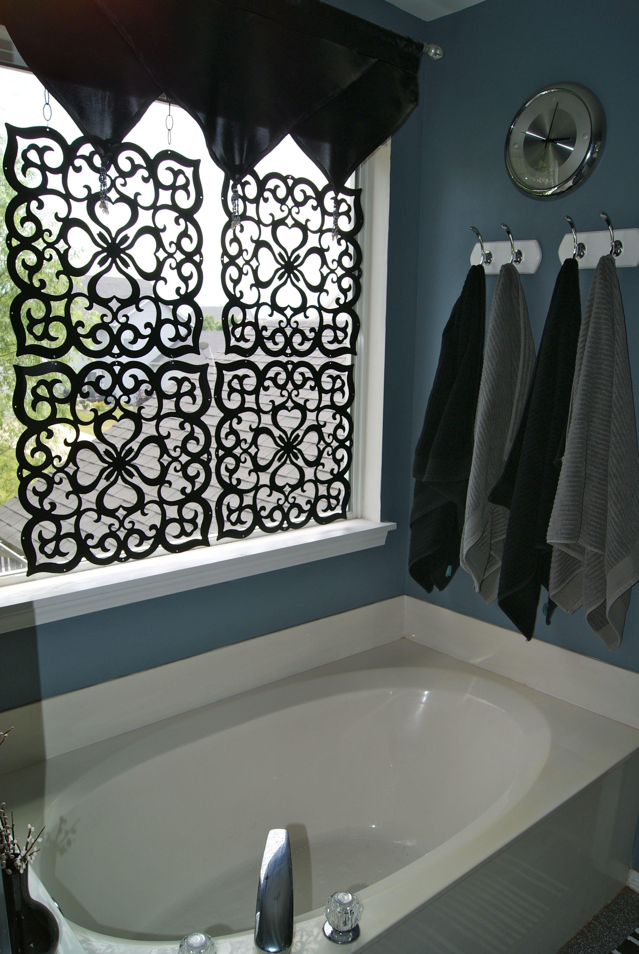 My master bath window treatment bathroom window for Master bathroom curtains