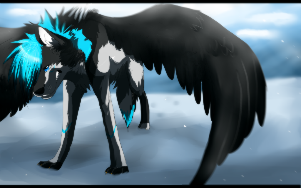 Animated wolf with wings