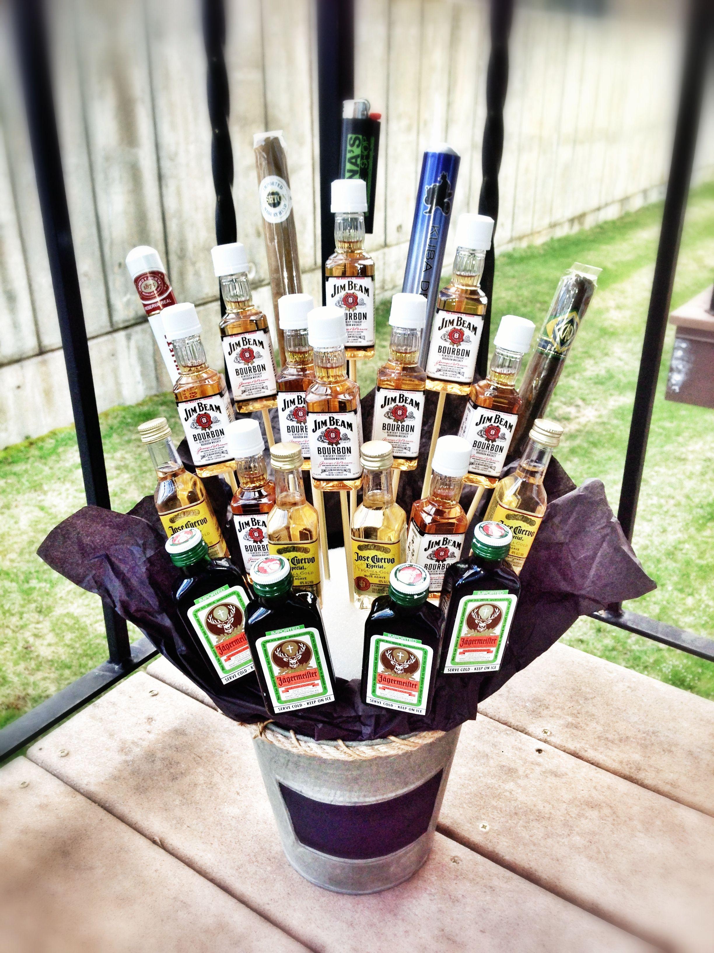 Liquor Cigar Basket For Birthday Diy Pinterest