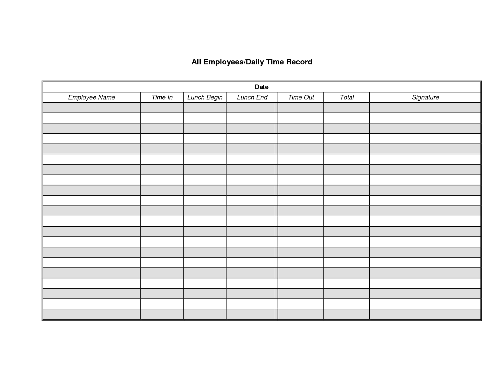 Employee Time Record Sheet Printable Editable Blank – Printable Time Card Template