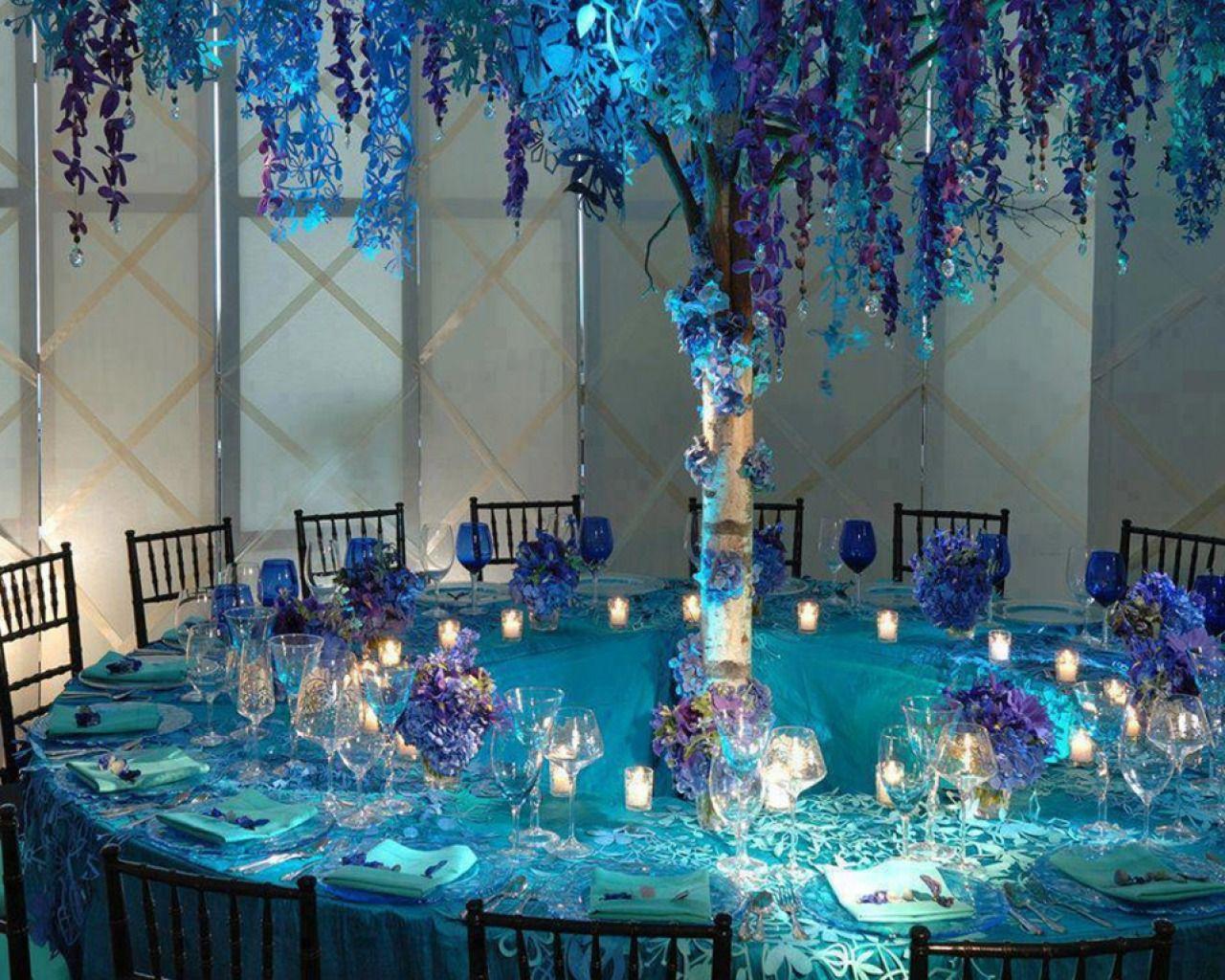Blue And Aqua Wedding Reception