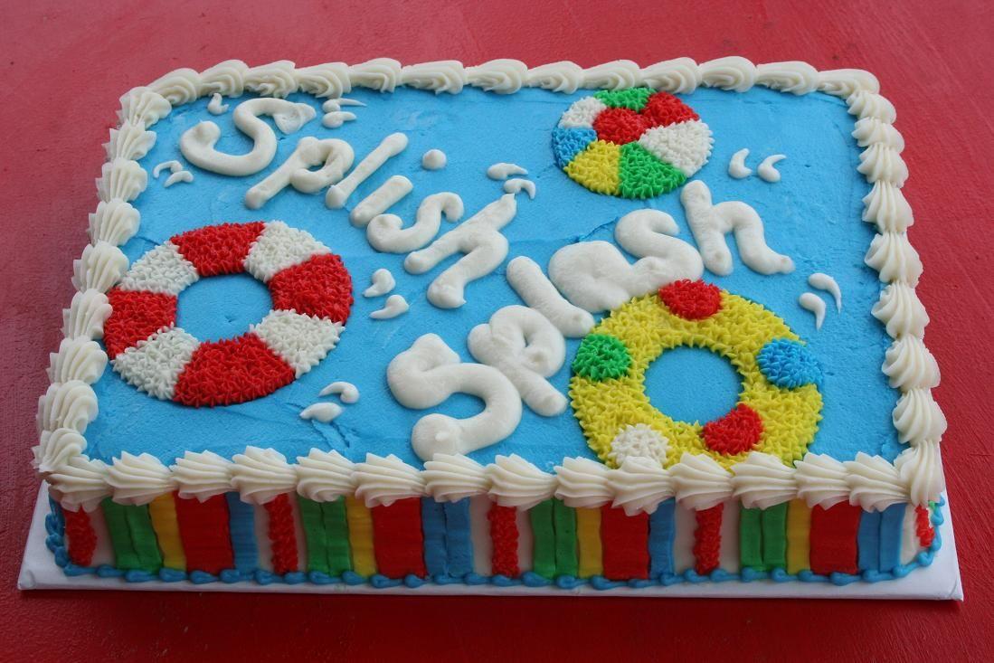 Pool party sheet cake