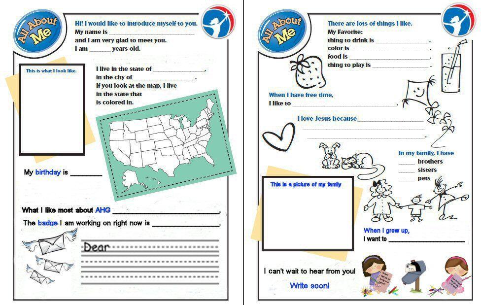 AHG pen pal template | AHG Pen Pal | Pinterest
