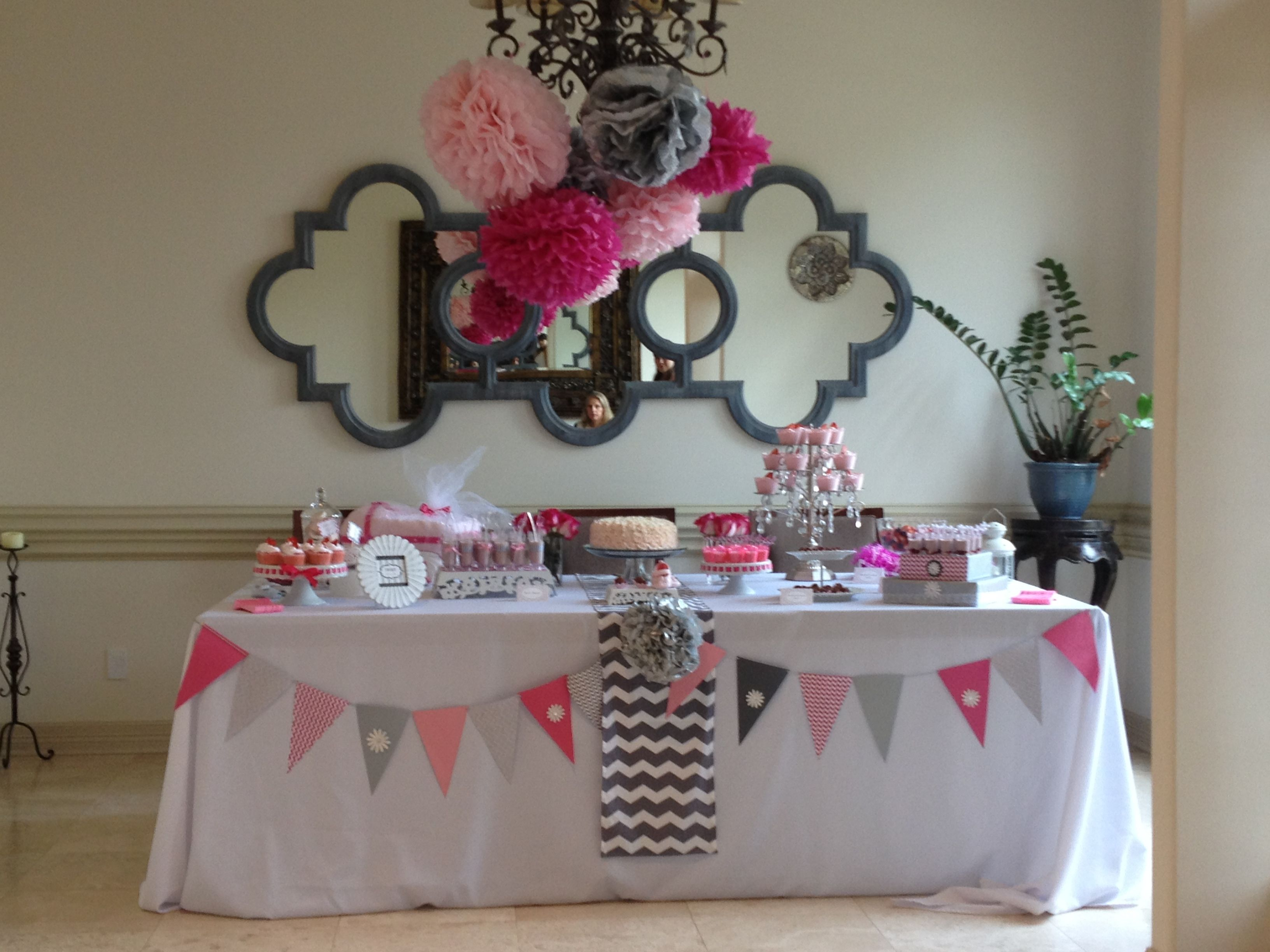 pink and grey baby shower baby shower pinterest