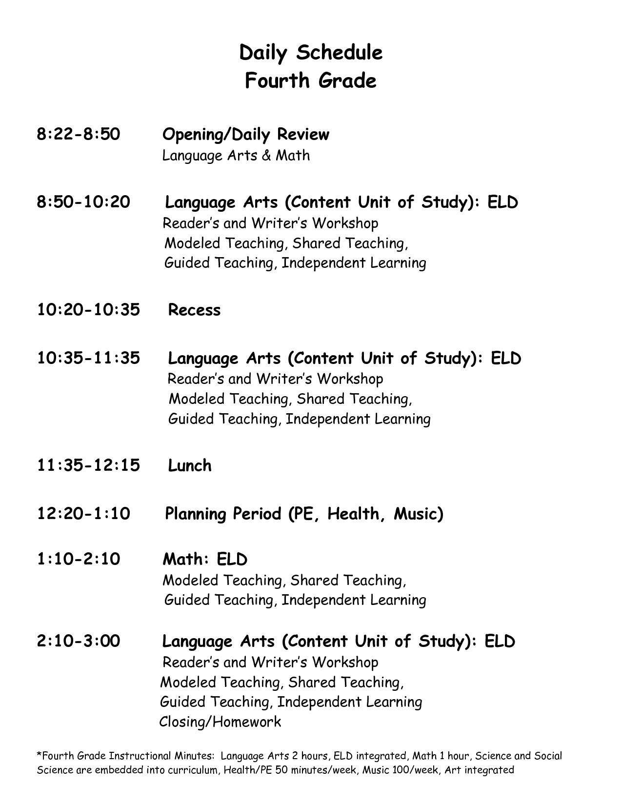 3rd grade classroom daily schedule - Google Search | Ms. Madera ...