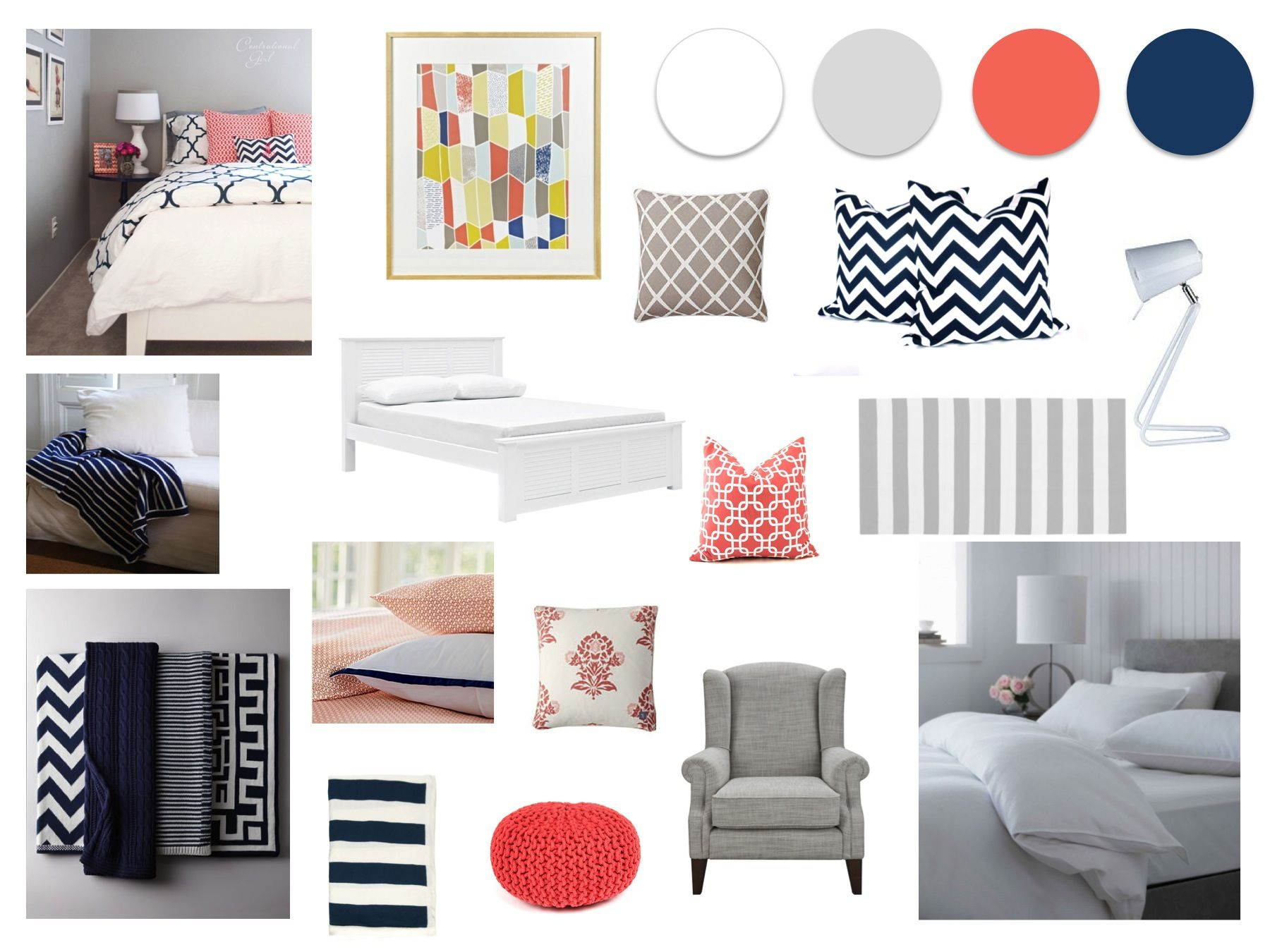 Grey Navy and Coral Master Bedroom