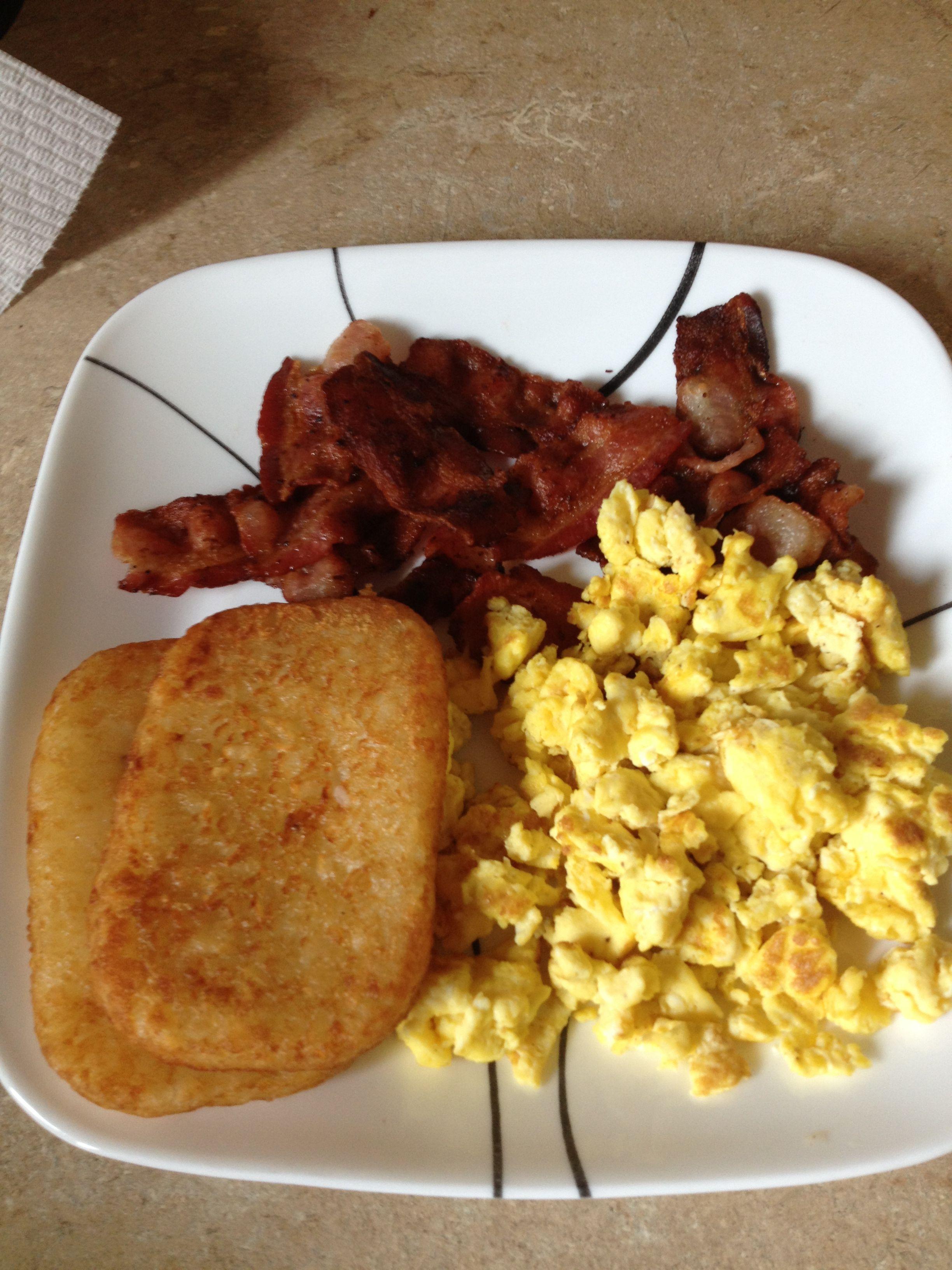 Bacon, scrambled eggs & hashbrowns | Fav Foods | Pinterest