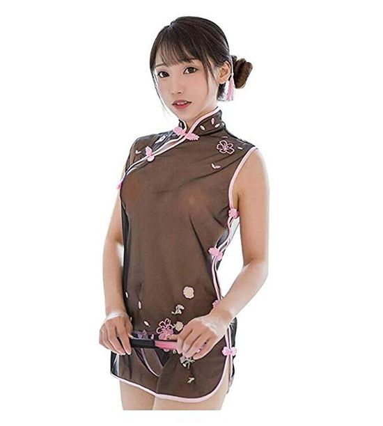 Bhwin Women Retro Nightgown Embroidery Chinese Traditional Qipao Cheongsam Sexy Lingerie Set
