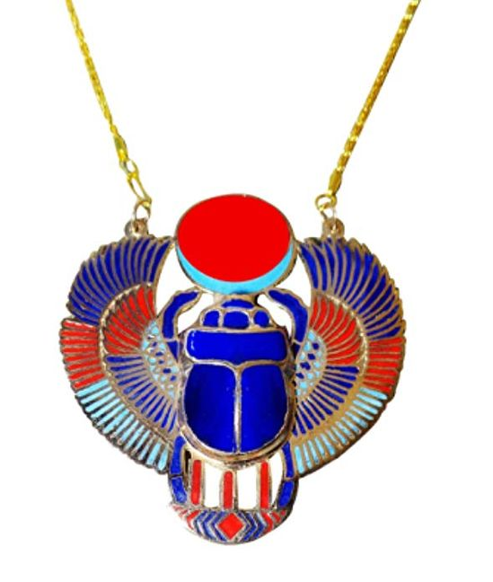 bonballoon Scarab Beetle Necklace Pendant Jewelry XL Enameled Egyptian Collar Choker